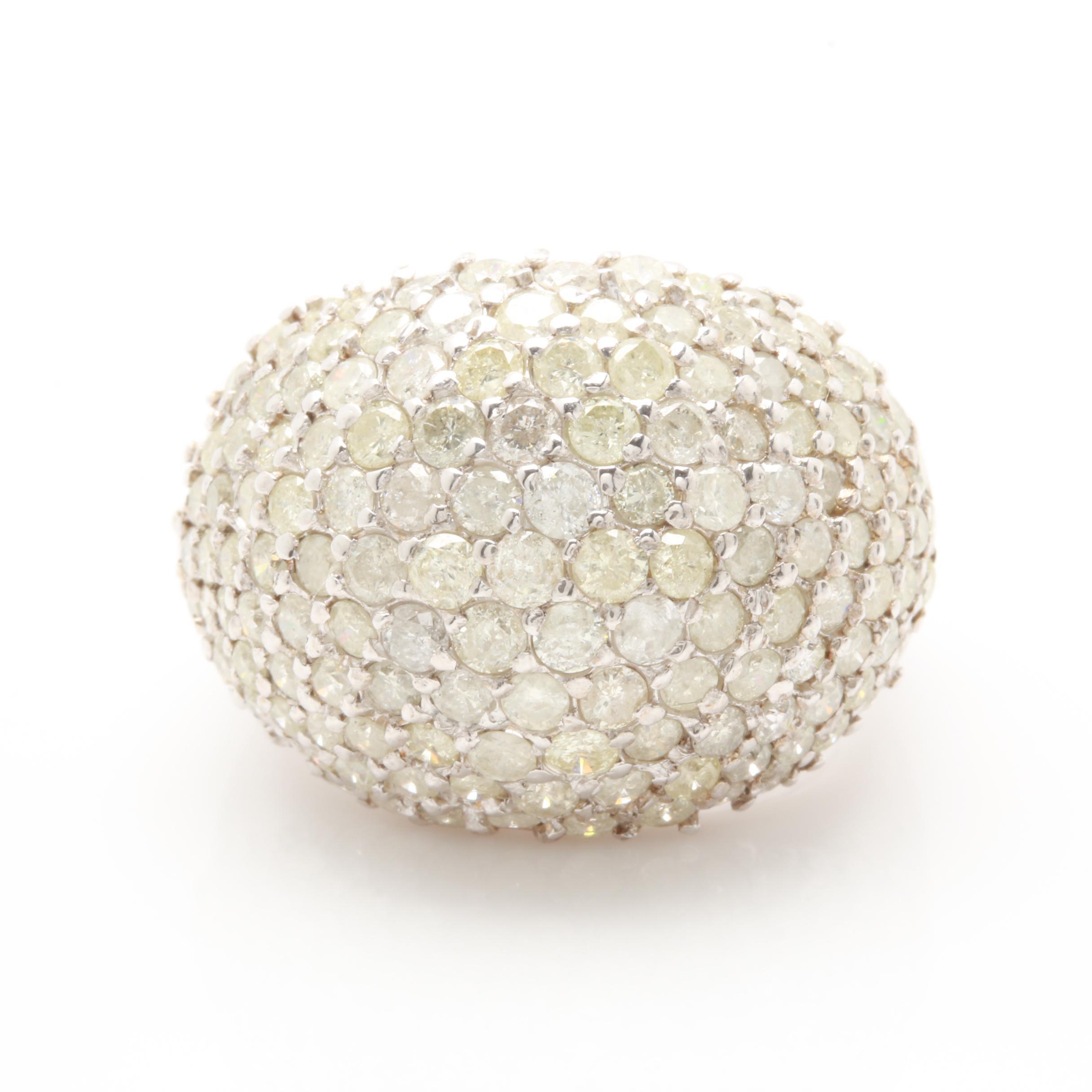 14K White Gold 3.98 CTW Diamond Pavé Dome Ring