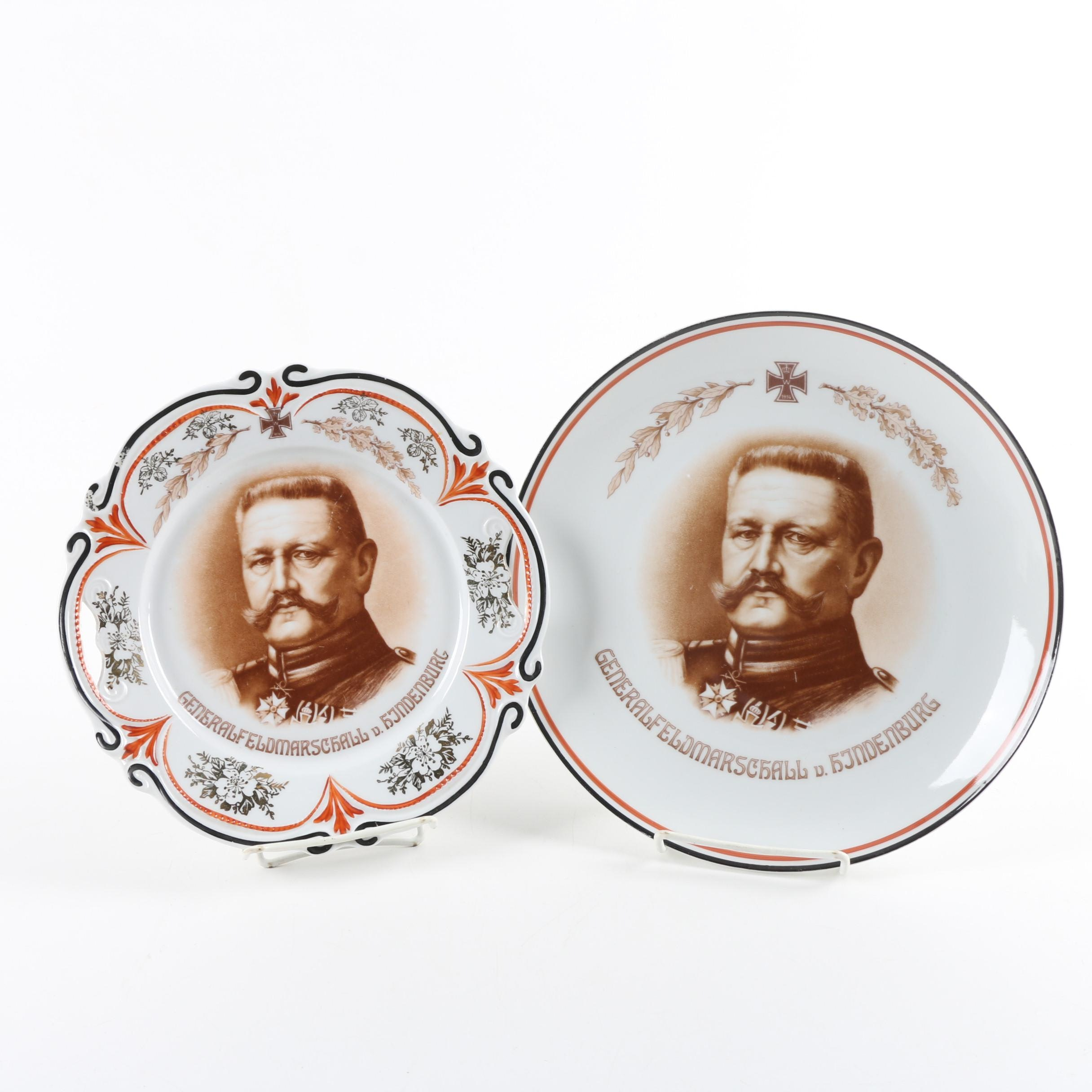 Porcelain German Cabinet Plates Featuring General Paul von Hindenburg