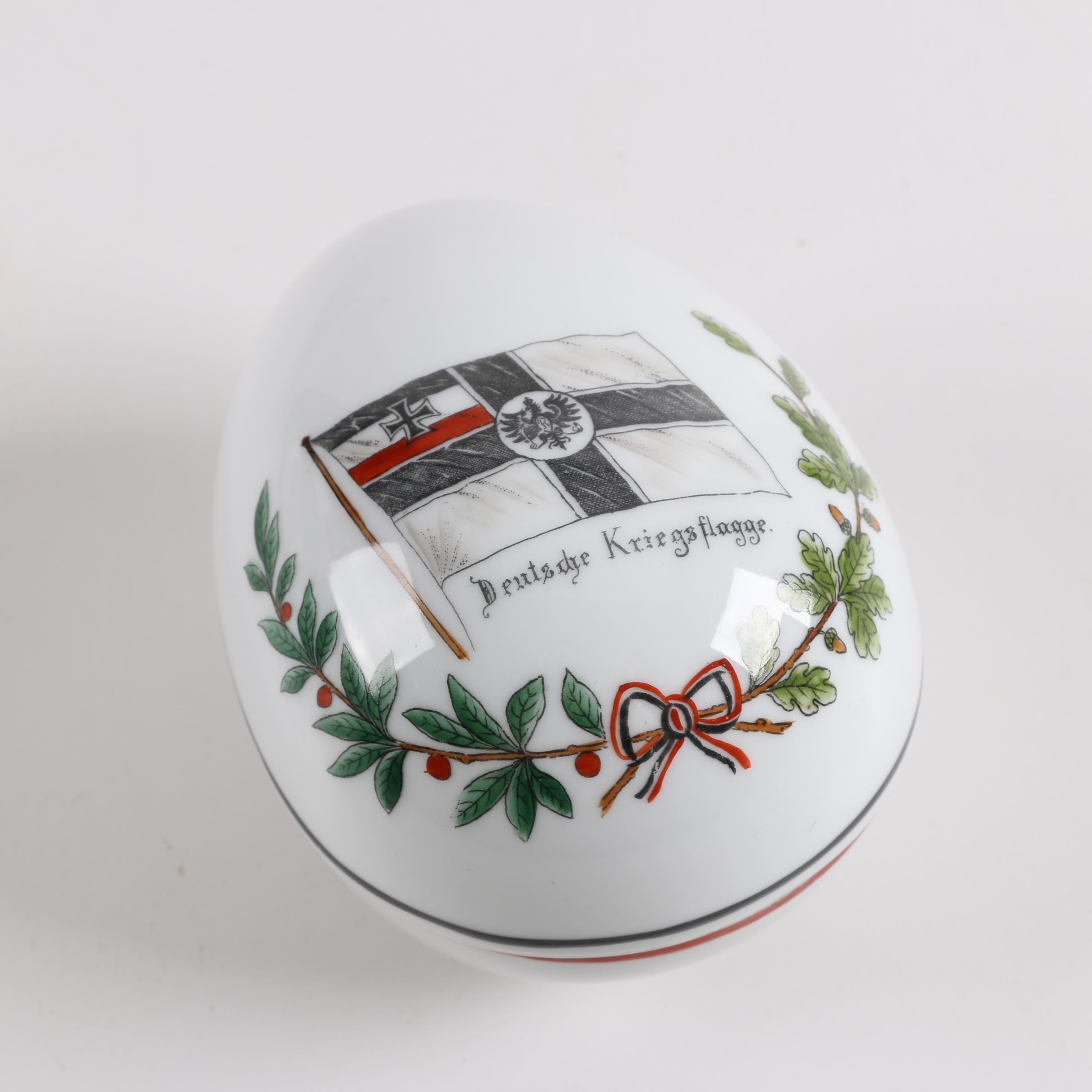 WWI Era German War Flag Porcelain Egg Trinket Box
