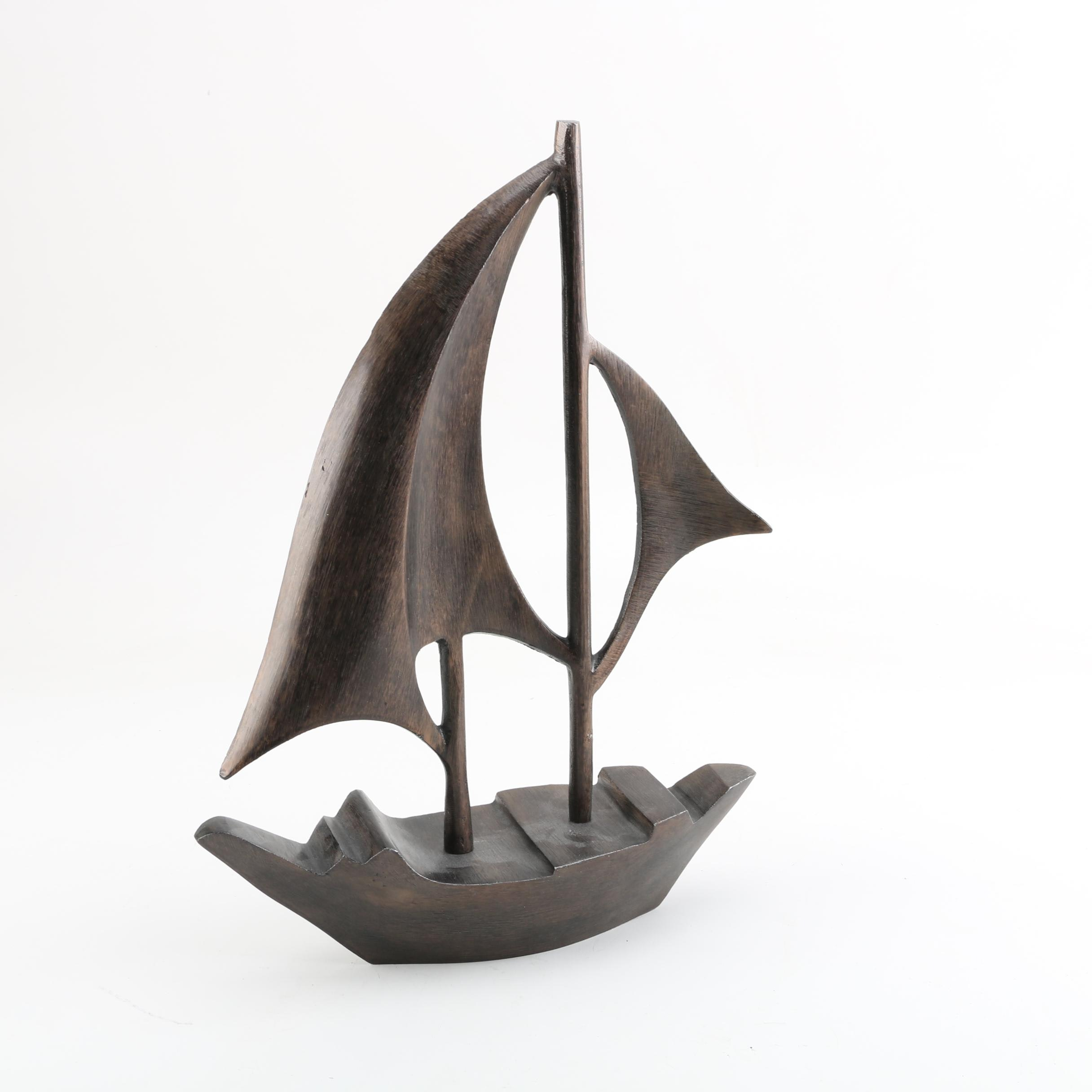 Metal Sailboat Figurine