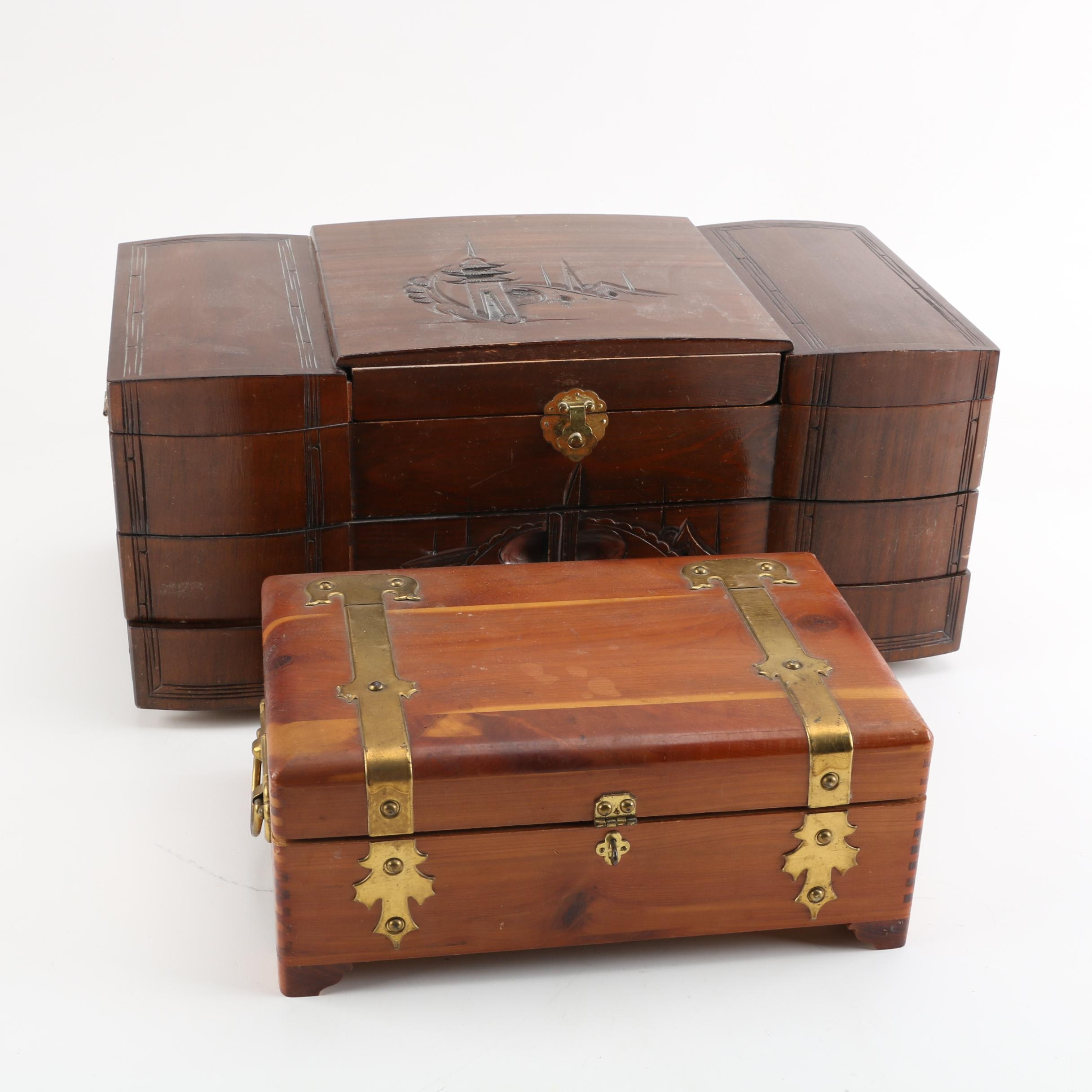 Wood and Metal Jewelry Boxes with Mirrors