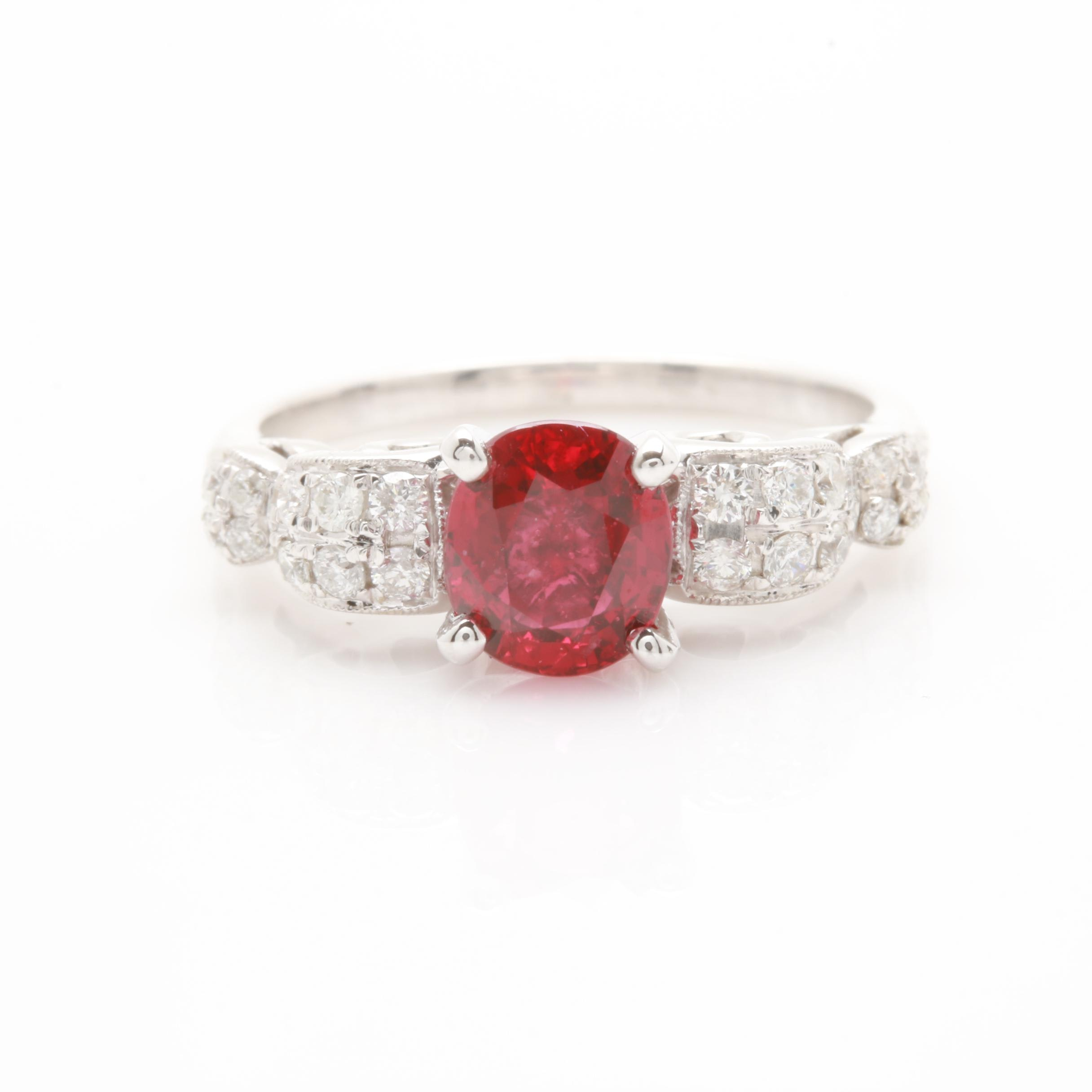 14K White Gold 1.62 CT Ruby and Diamond Ring with GIA Number and Report