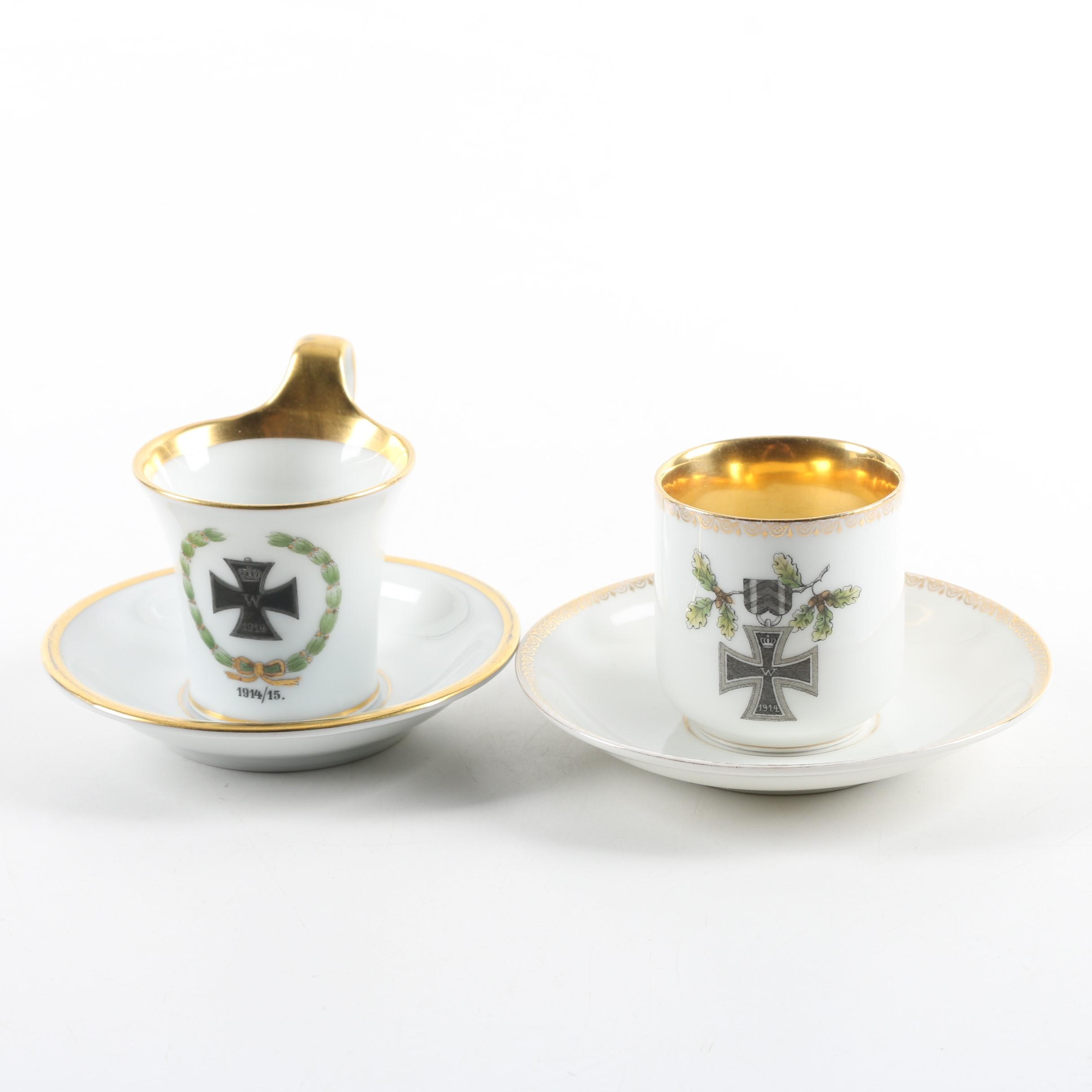 Furstenberg and Krister World War One Prussian Porcelain Teacups and Saucers