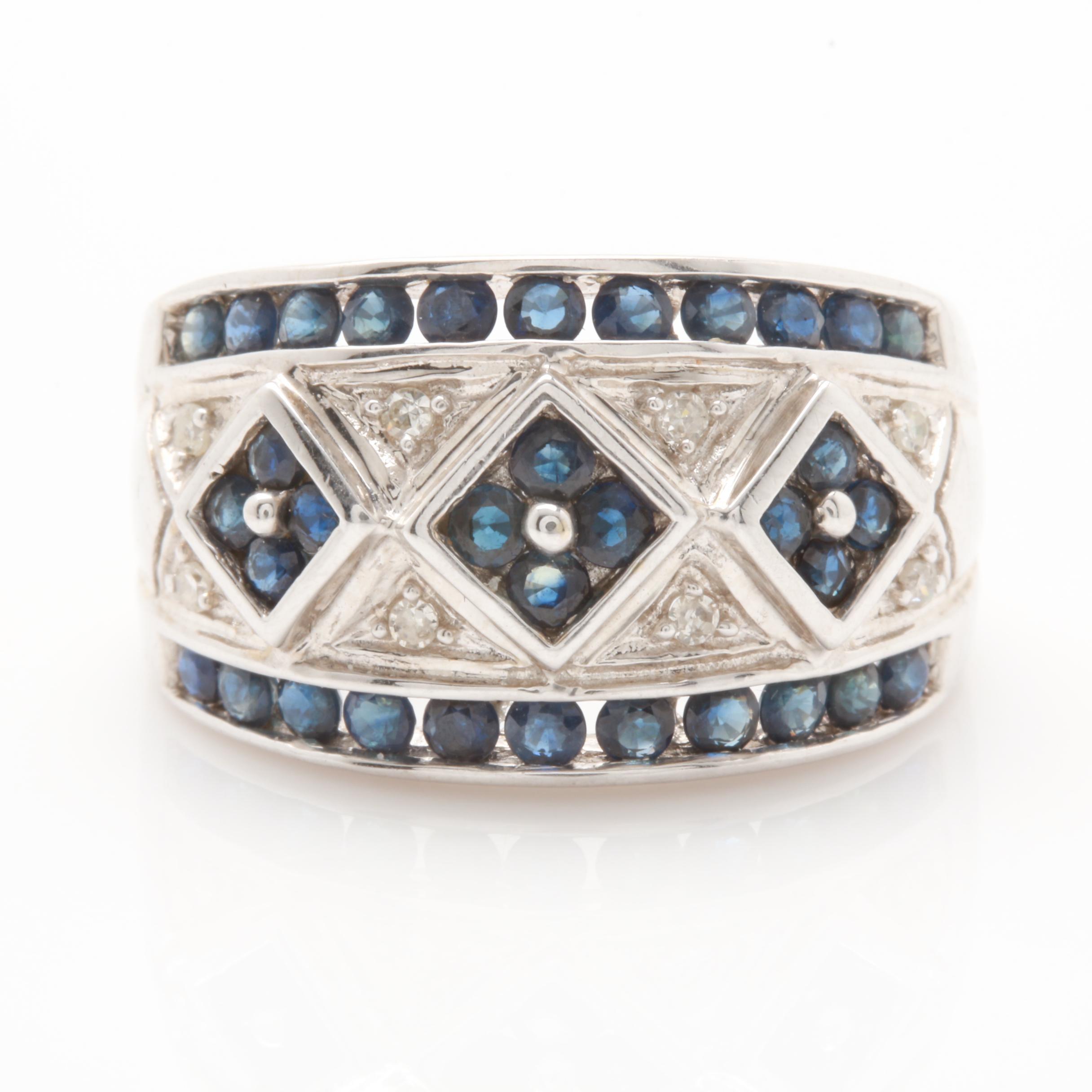 Alwand Vahan 14K White Gold Blue Sapphire and Diamond Ring