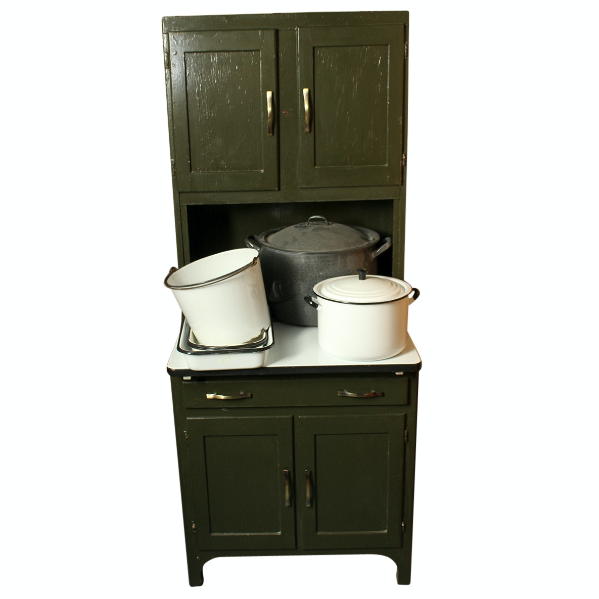 Vintage Kitchen Hutch and Enamel Cookware