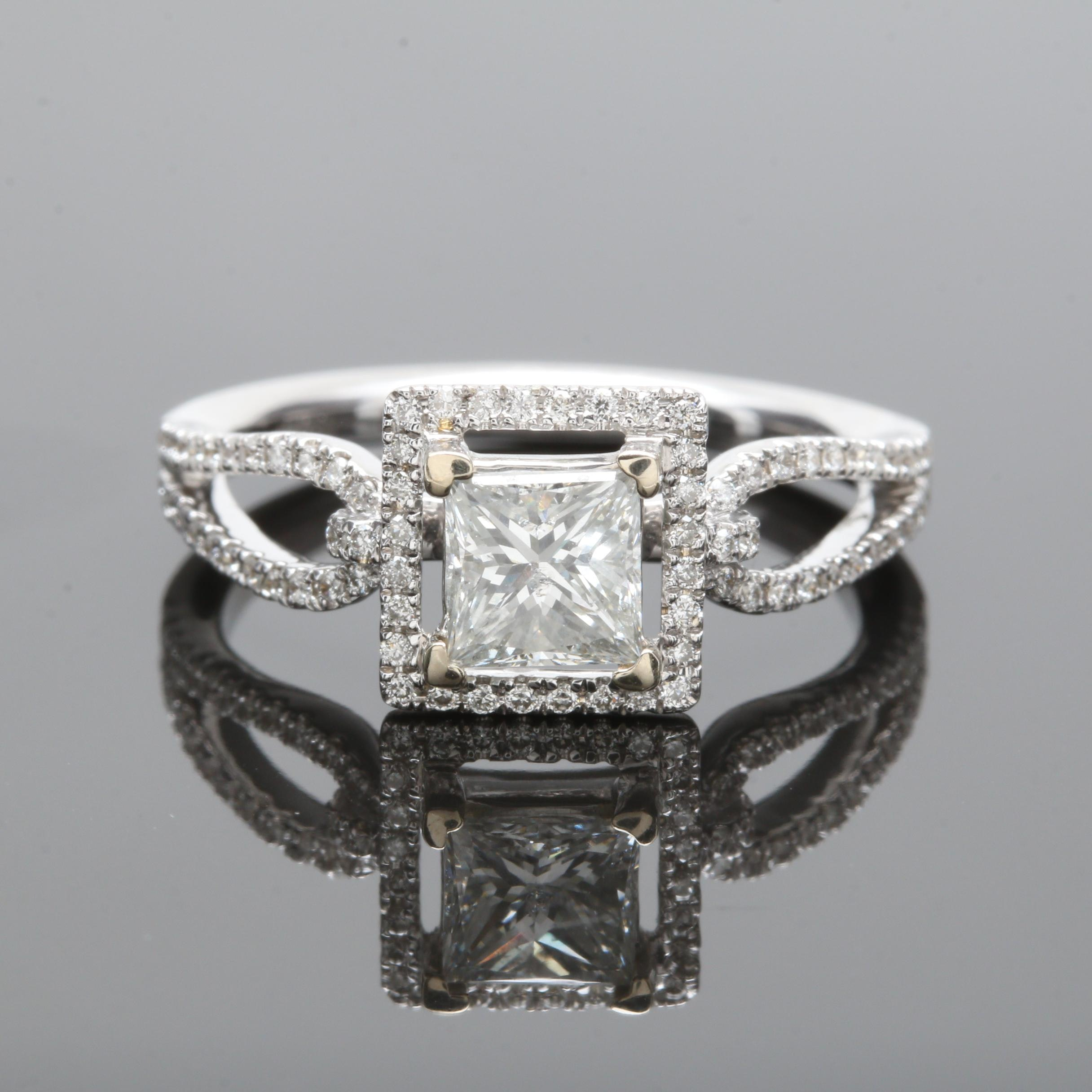 18K White Gold 1.02 CTW Diamond Ring With GSL Laser Inscription