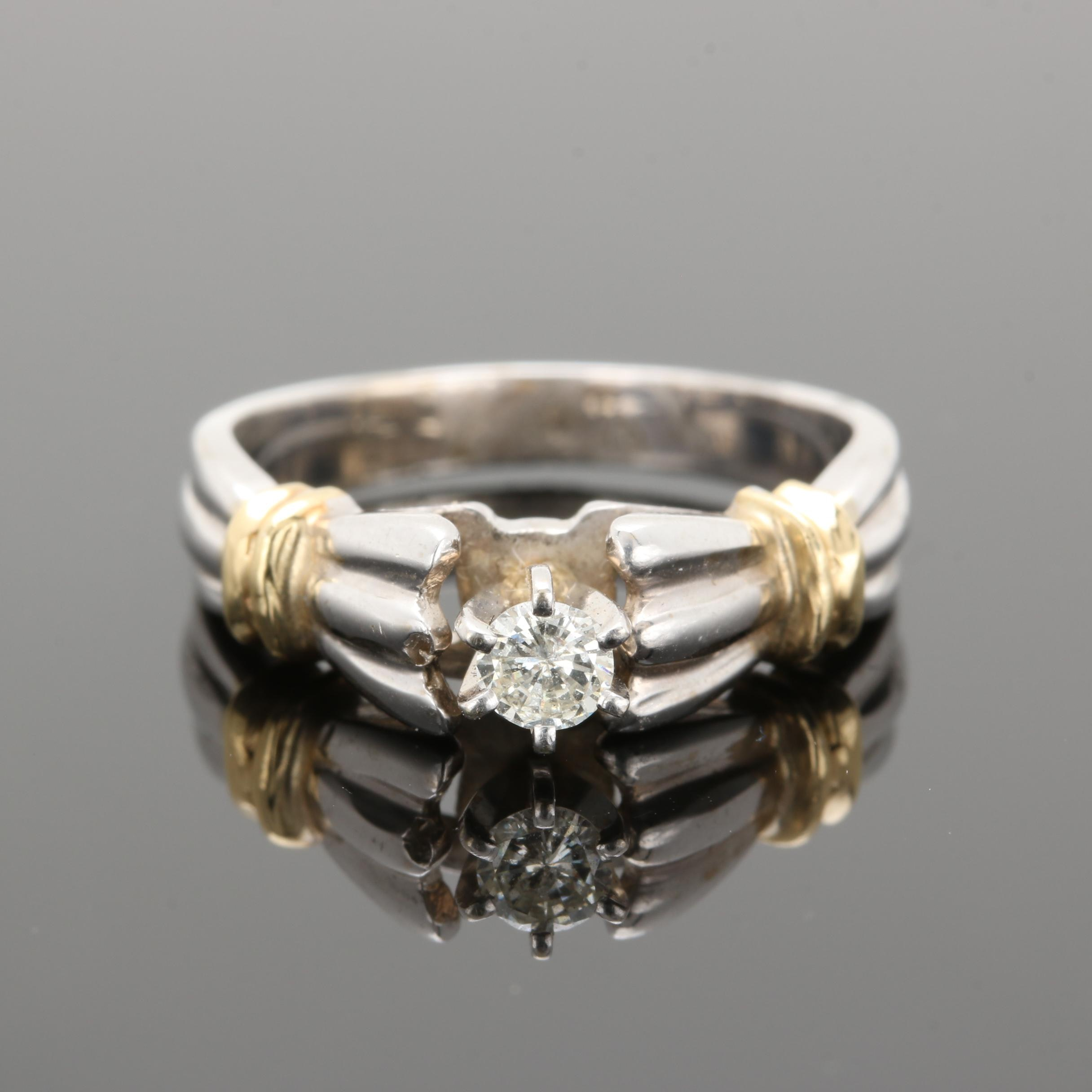 14K White Gold Diamond Ring with 14K Yellow Gold Accents