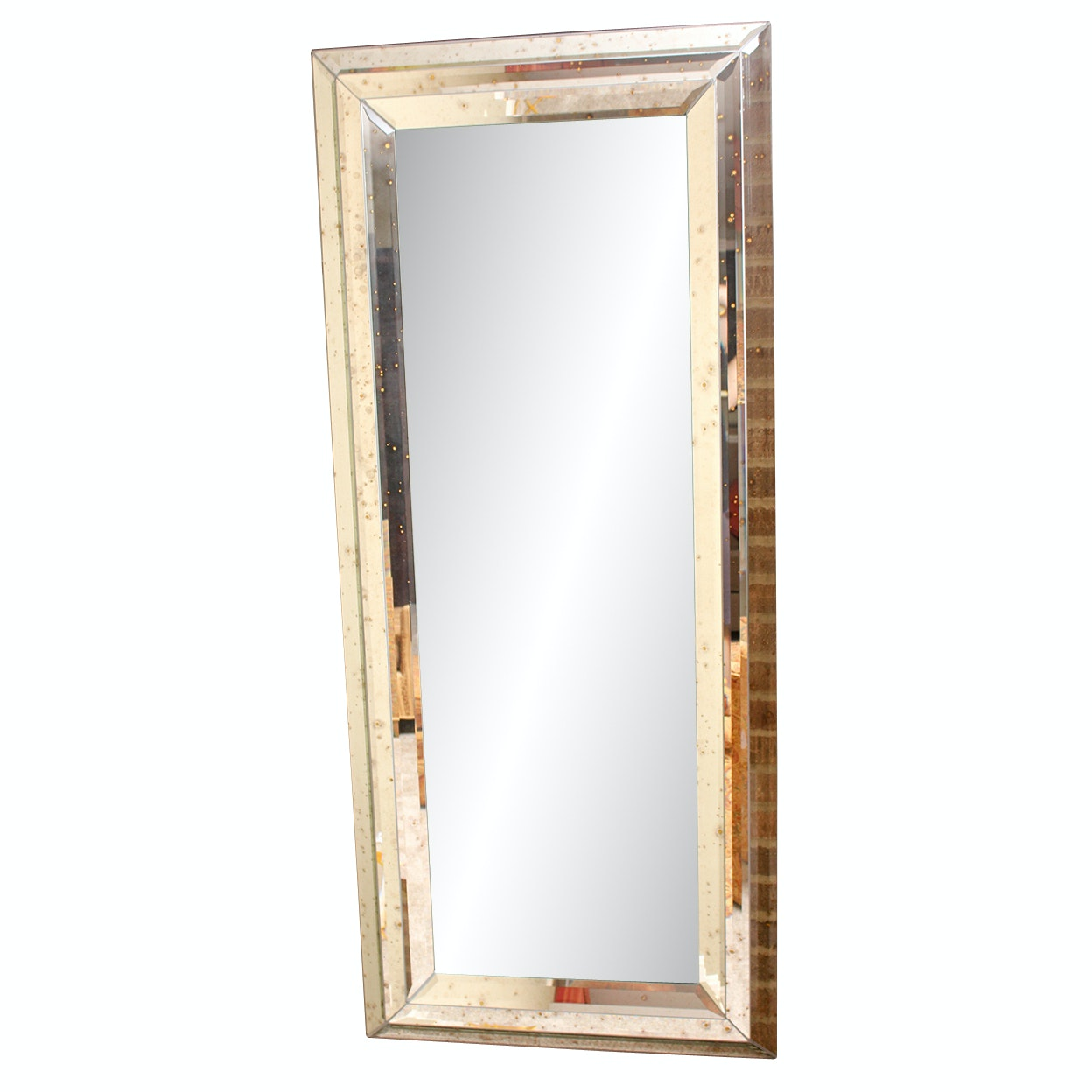 Full-Length Mirror with Mercury Glass Style Beveled Frame