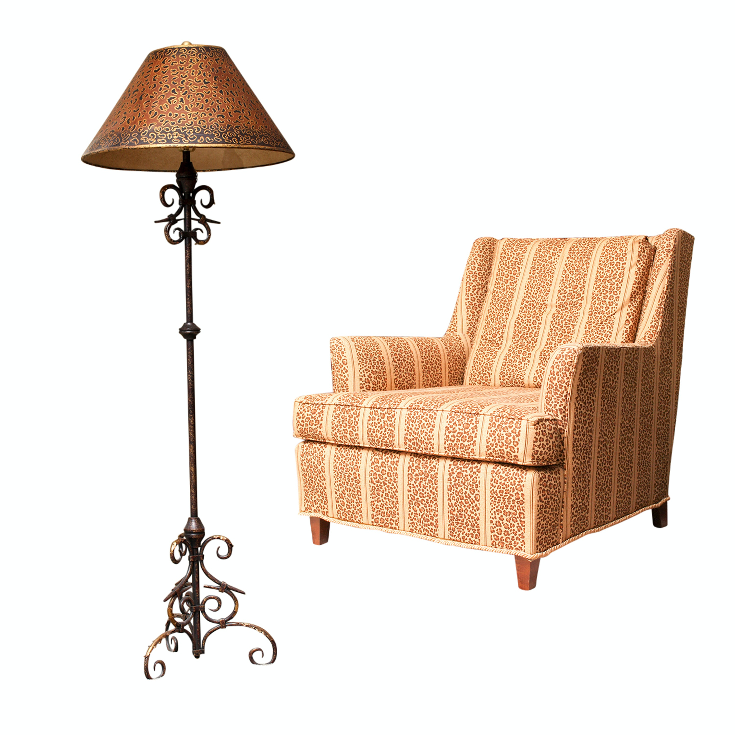 Upholstered Armchair and Scroll Metal Floor Lamp