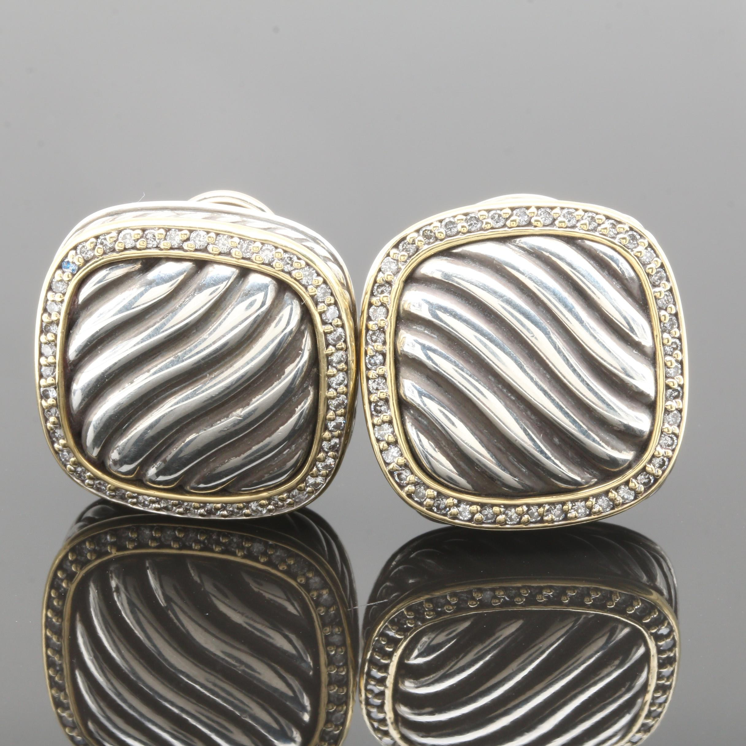 David Yurman 18K Yellow Gold and Sterling Silver Earrings