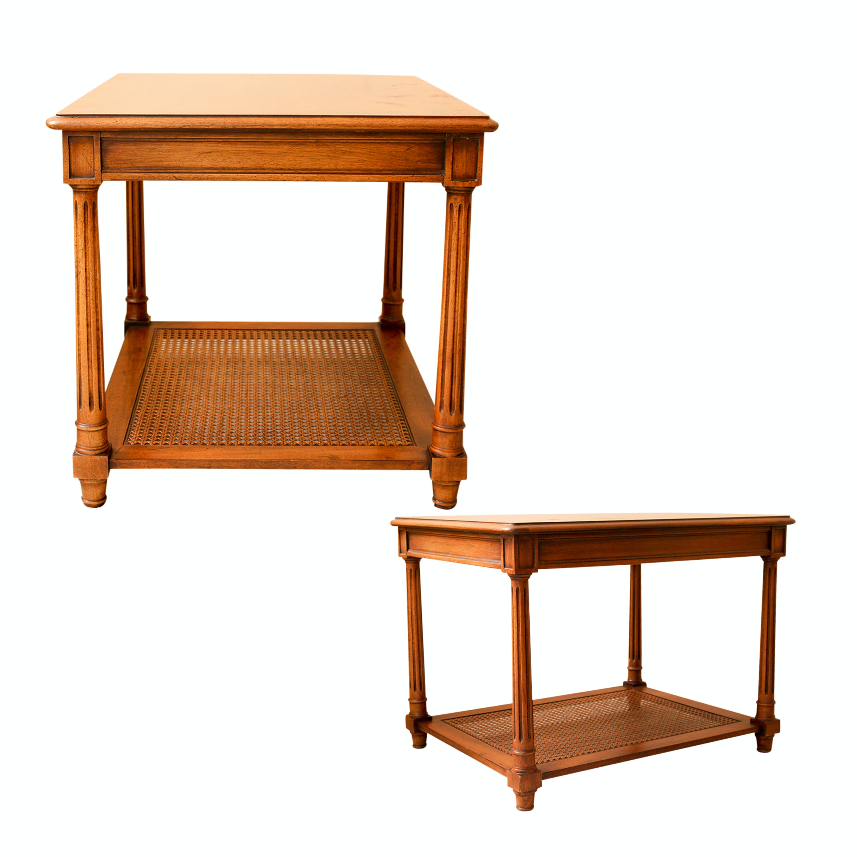 Henredon Wood and Cane End Tables