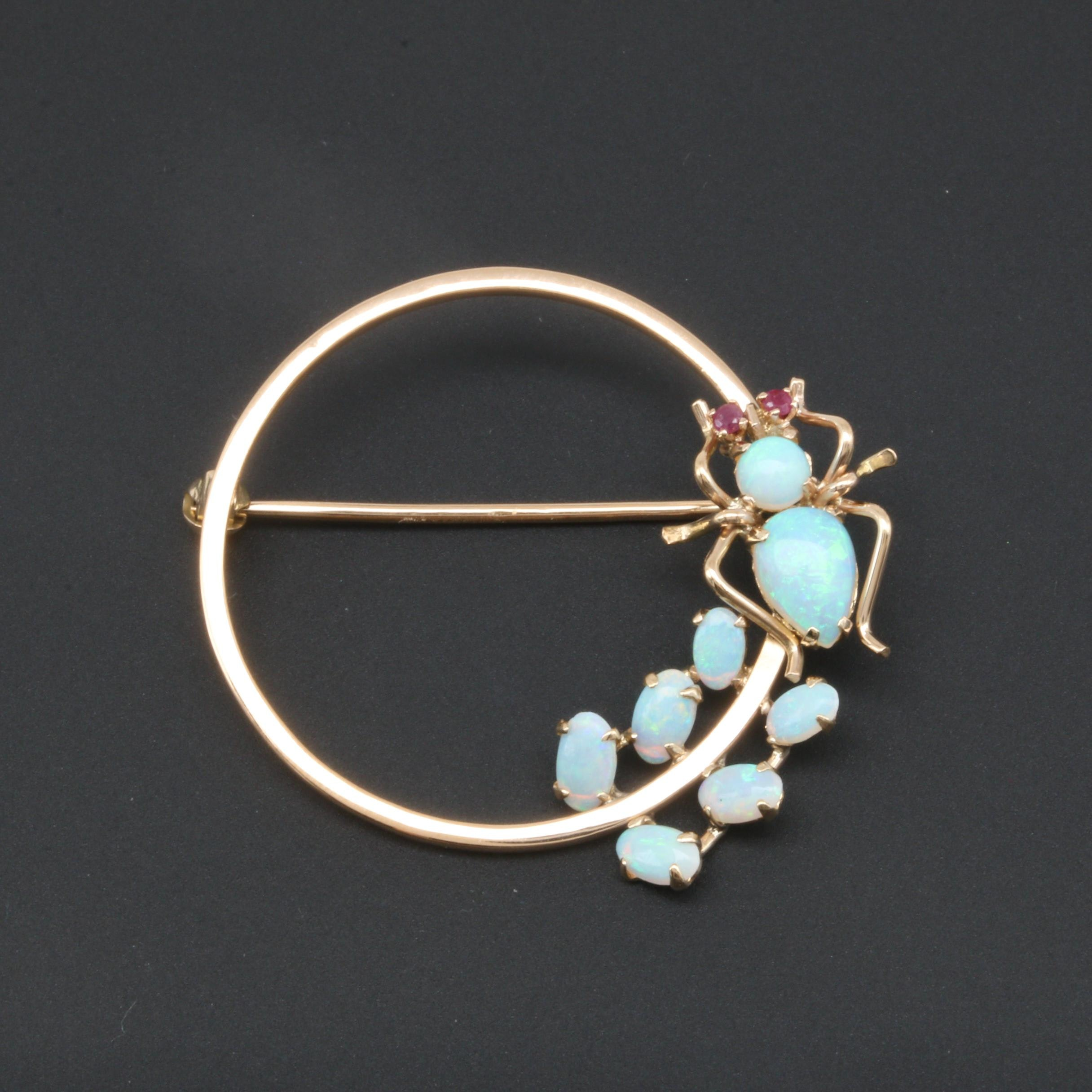 14K Yellow Gold Opal and Ruby Insect Brooch