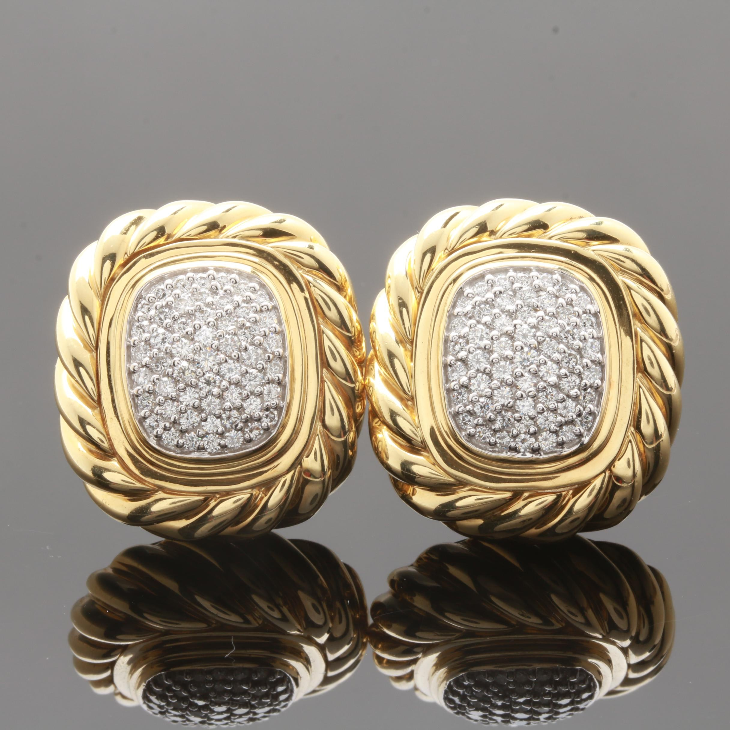 David Yurman 18K Yellow Gold 1.25 CTW Diamond Earrings