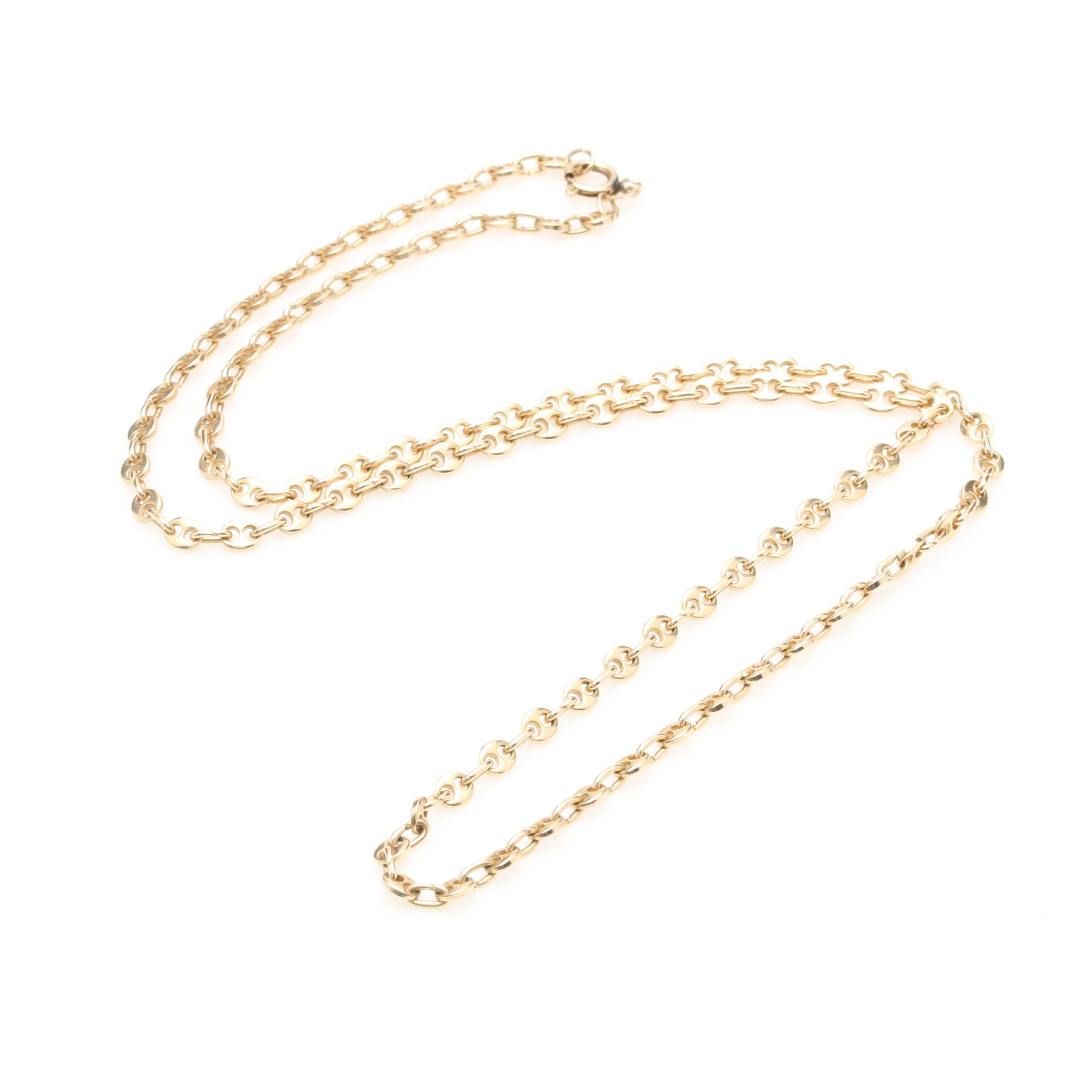 14K Yellow Gold Anchor Chain Link Necklace