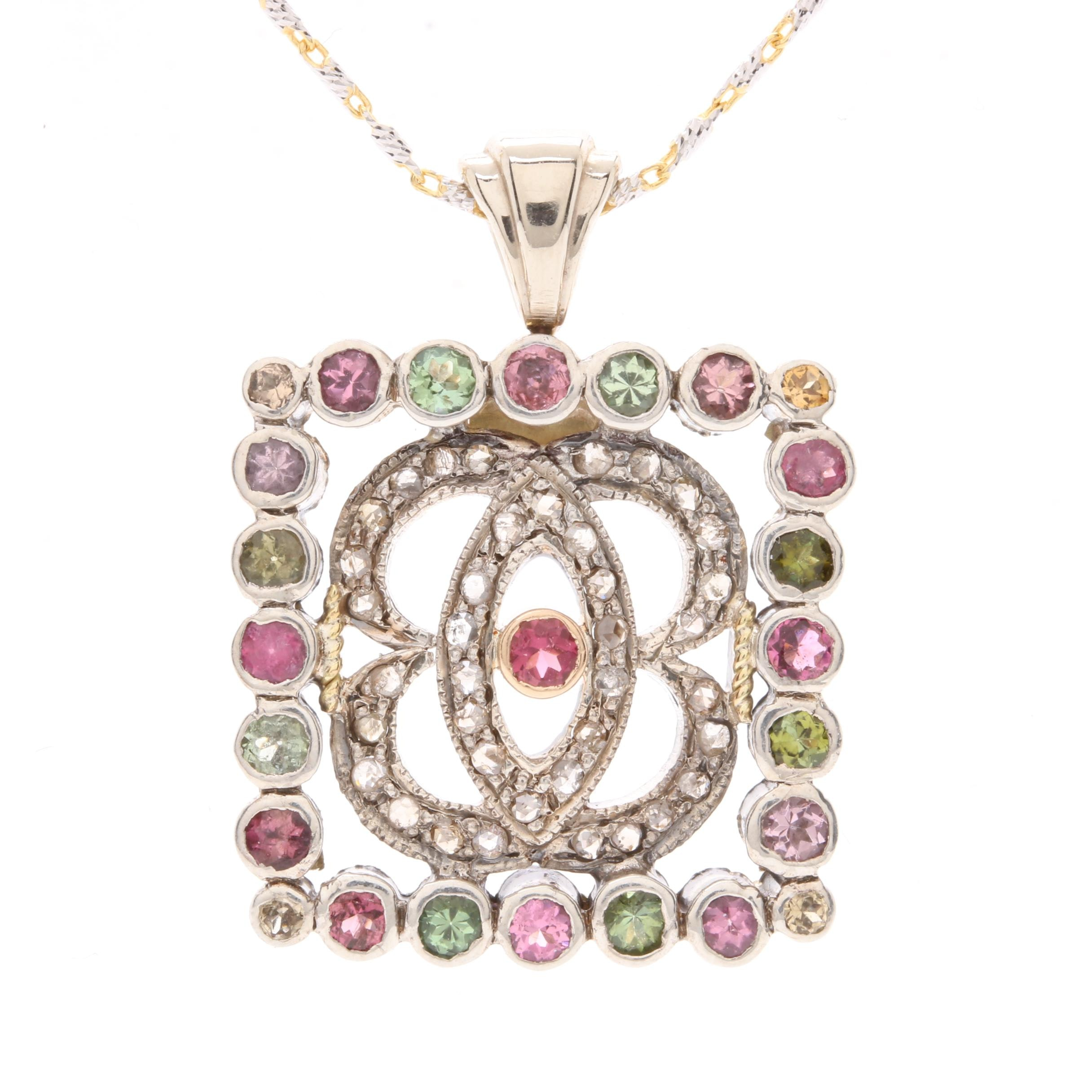 14K White Gold and 800 Silver Diamond and Tourmaline Necklace