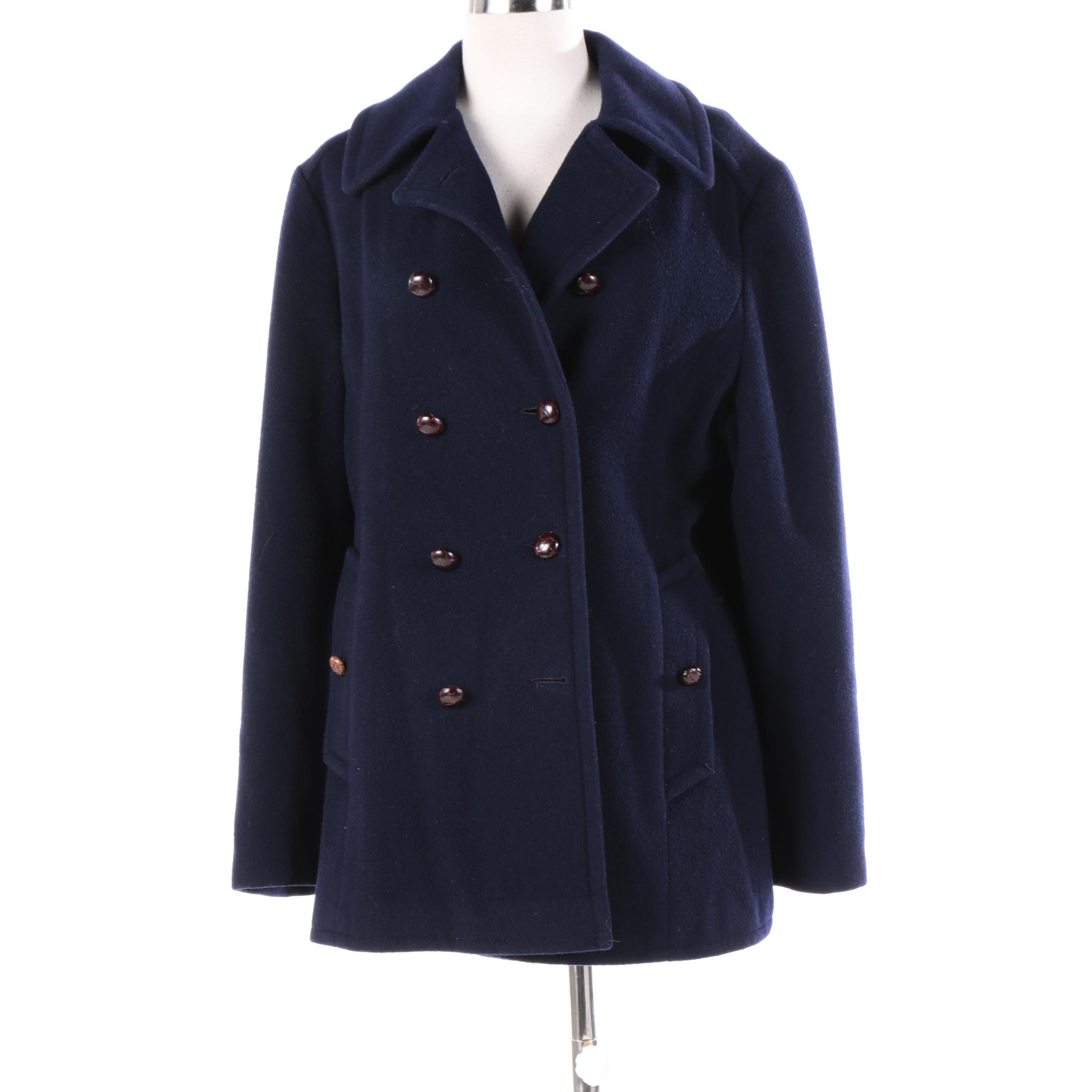 Women's Mackintosh Navy Wool Double-Breasted Peacoat