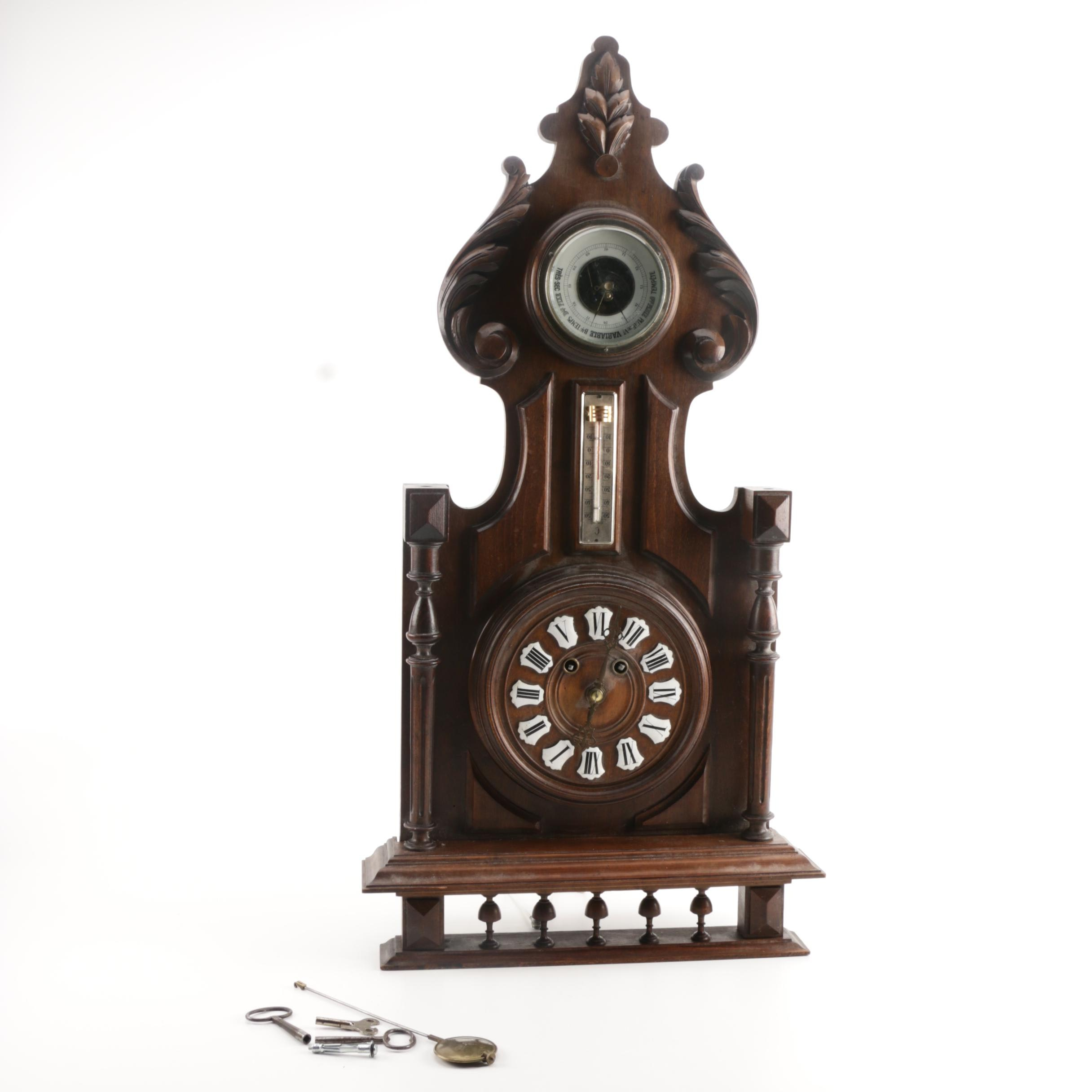 Antique German Wood Wall Clock with Thermometer and Barometer