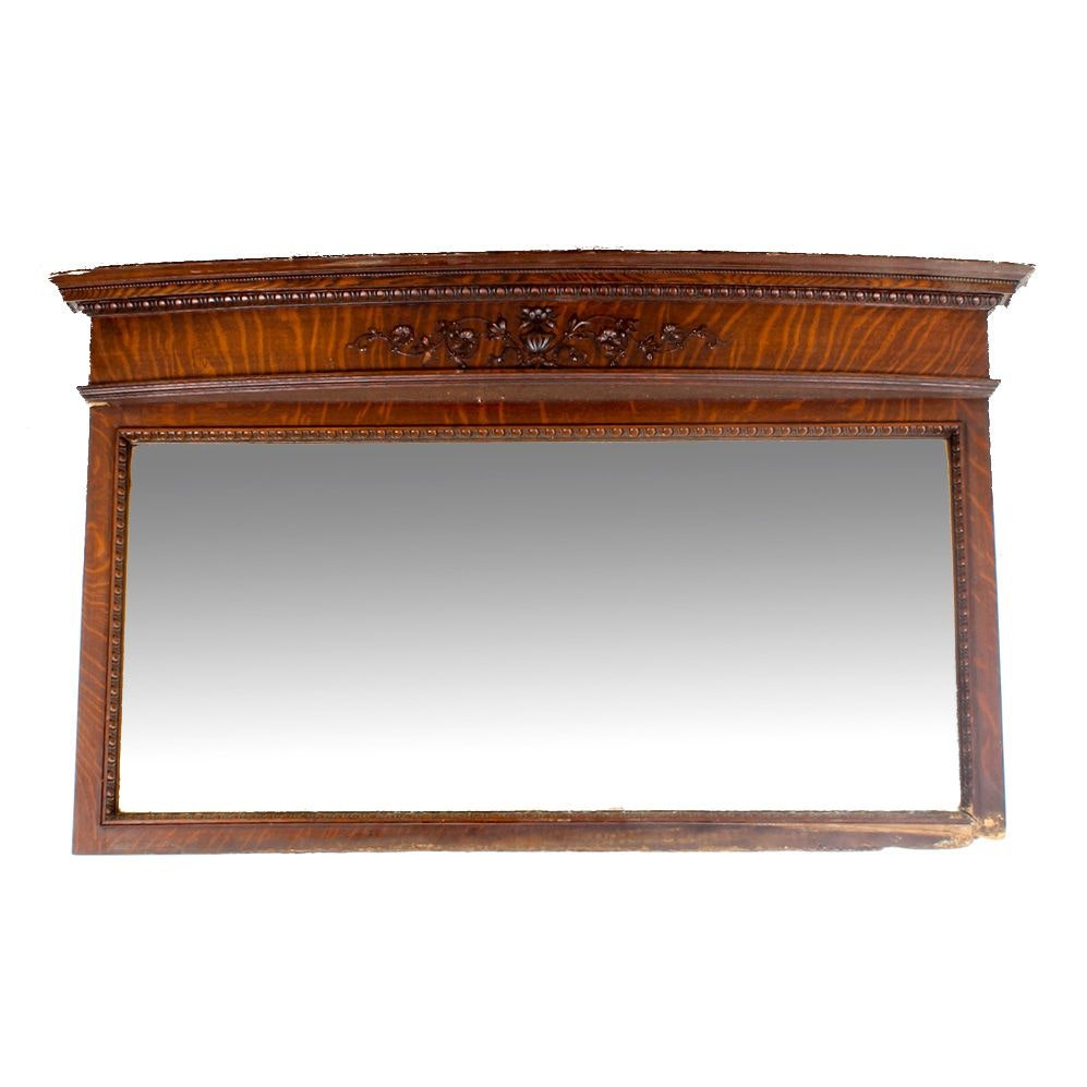 Antique Tiger Oak Overmantel Mirror