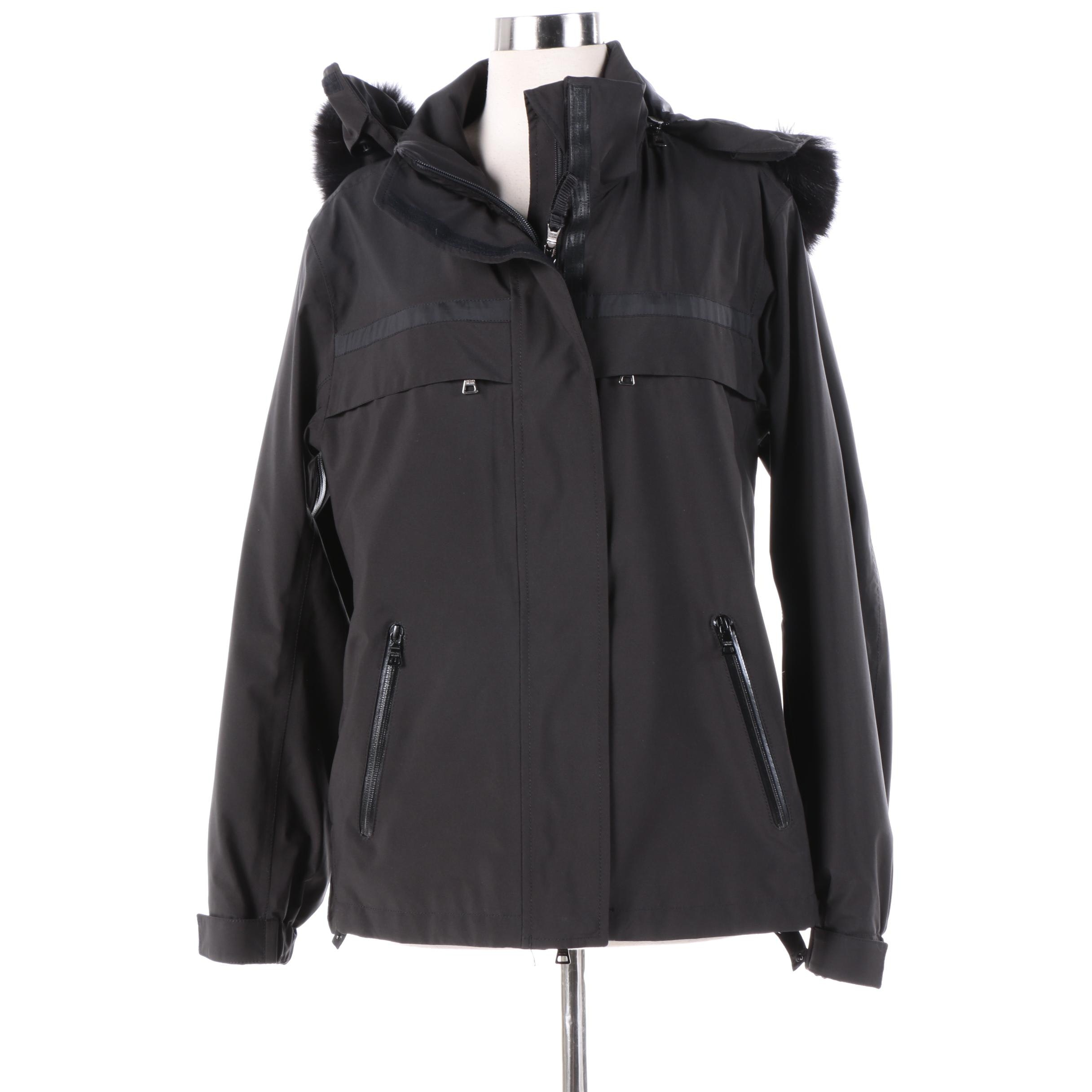 Women's Prada Black Parka with Fox Fur Trim Removable Hood