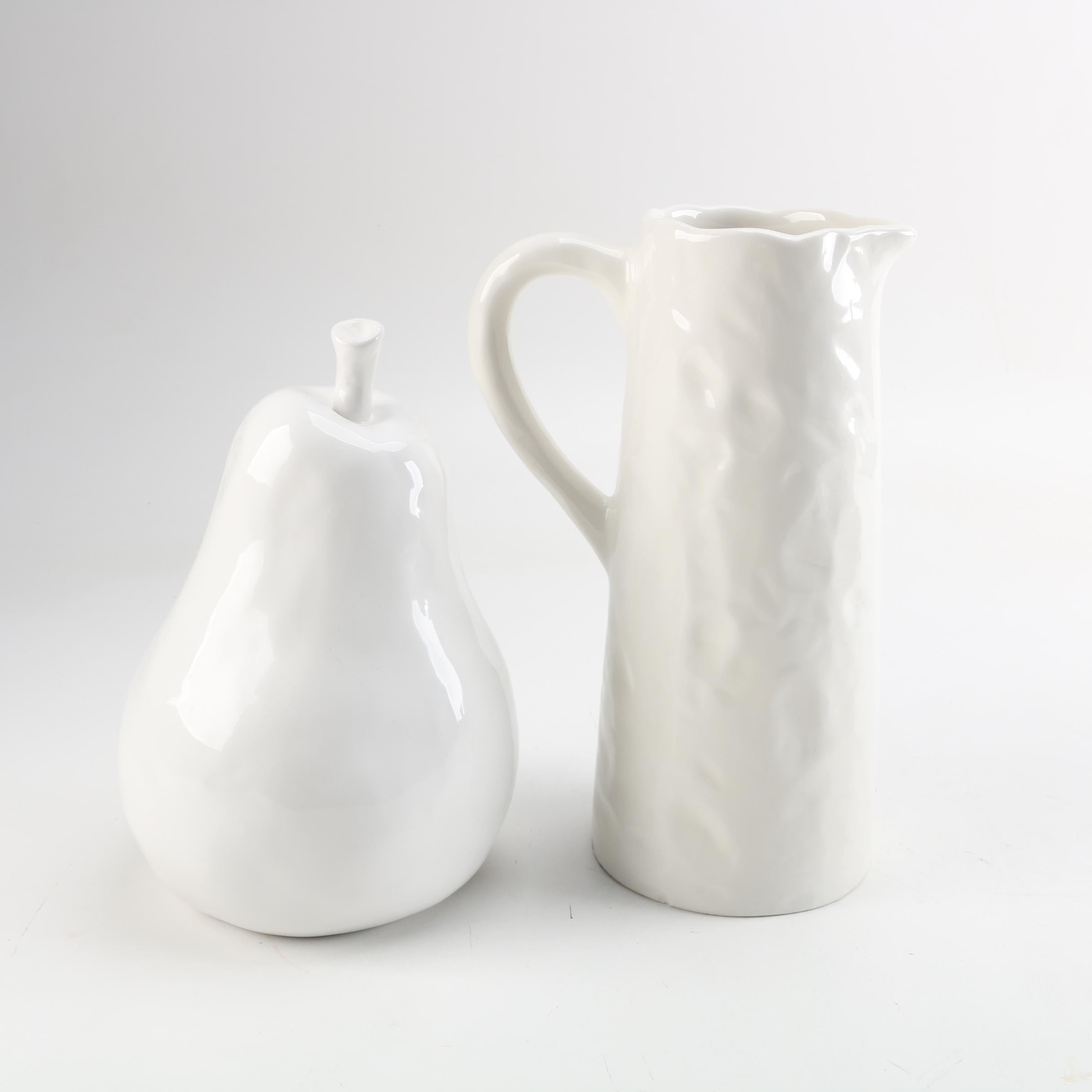 White Ceramic Pitcher and Pear Figure