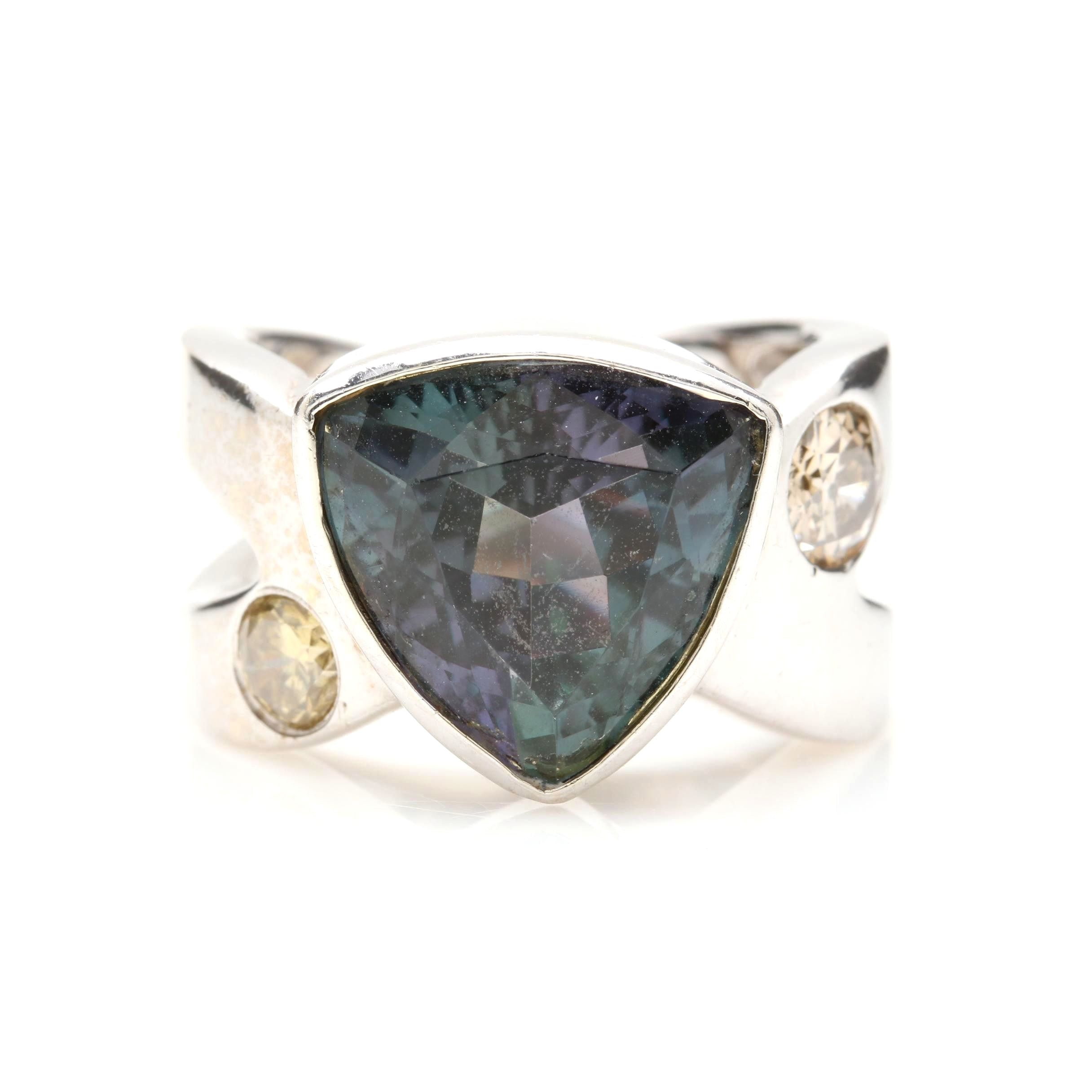 14K White Gold 6.39 CT Tanzanite and Diamond Ring