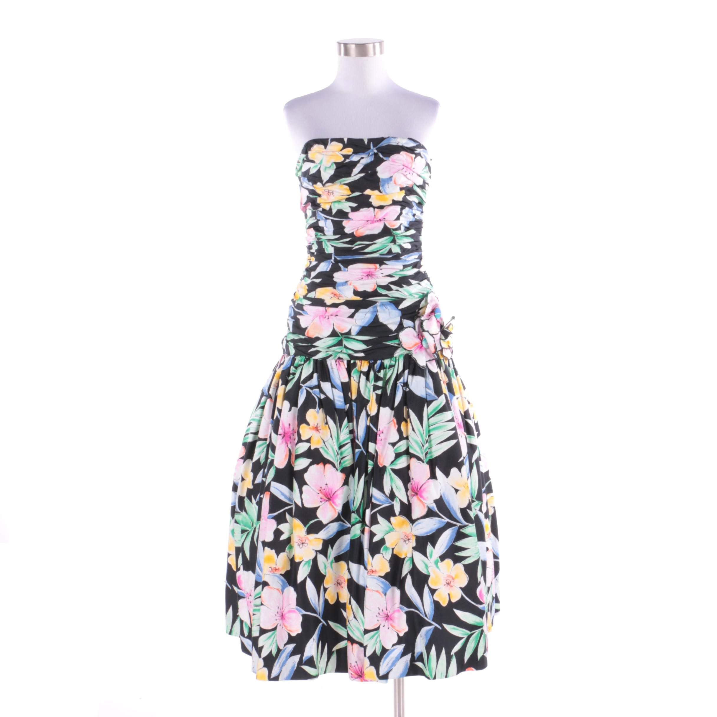 Vintage Victor Costa for Lord & Taylor Floral Print Strapless Cocktail Dress