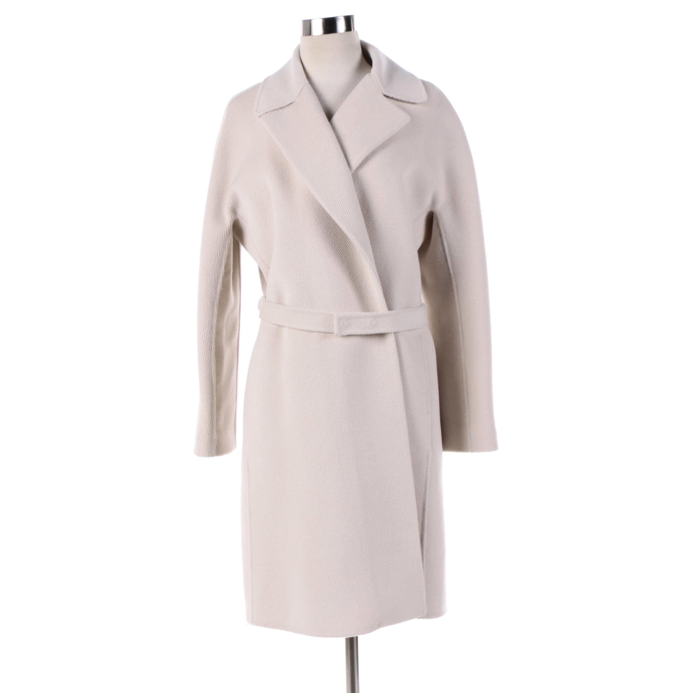 Women's Lafayette 148 New York Off-White Wool Blend Coat
