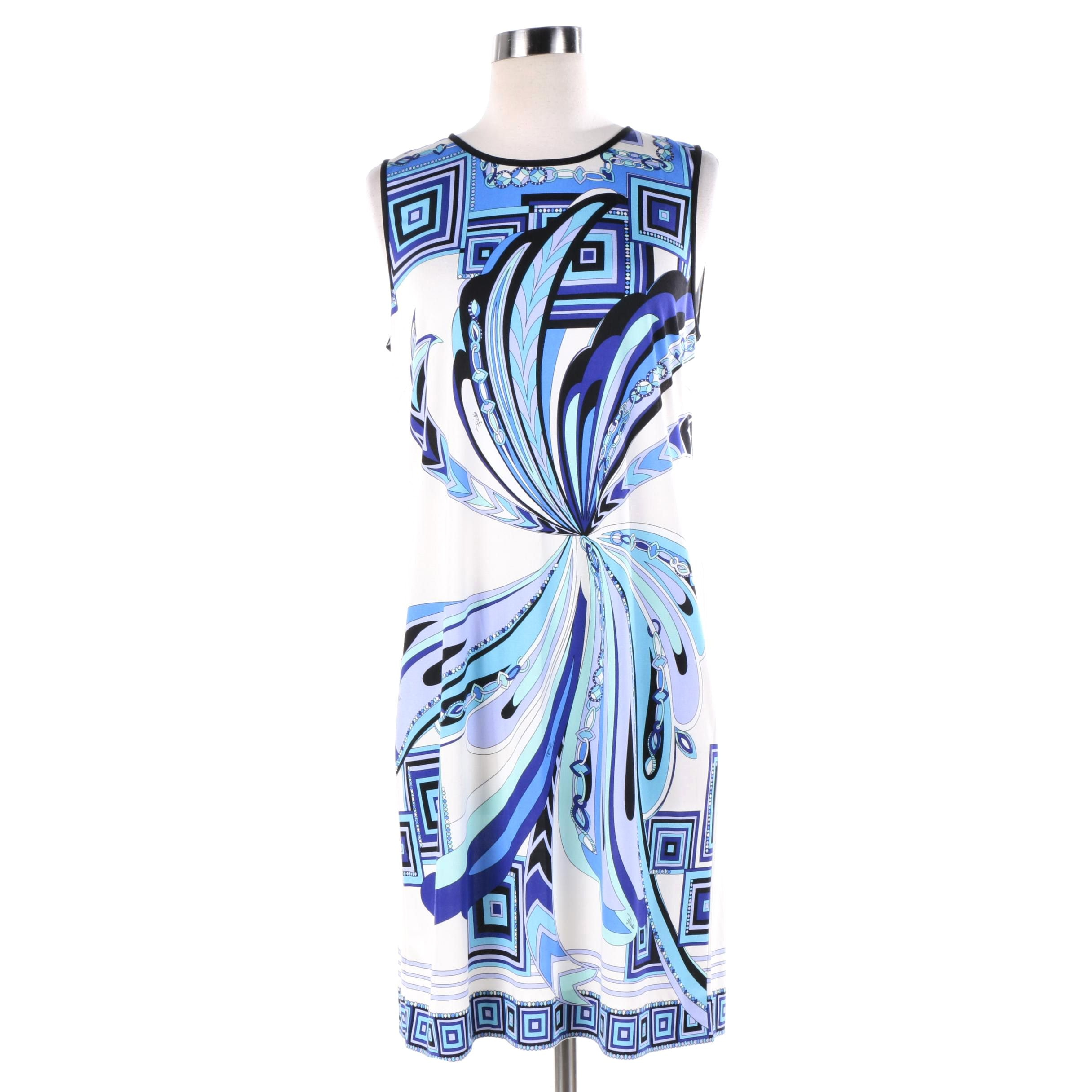 Emilio Pucci Blue and Purple Silk Print Sleeveless Dress, Made in Italy
