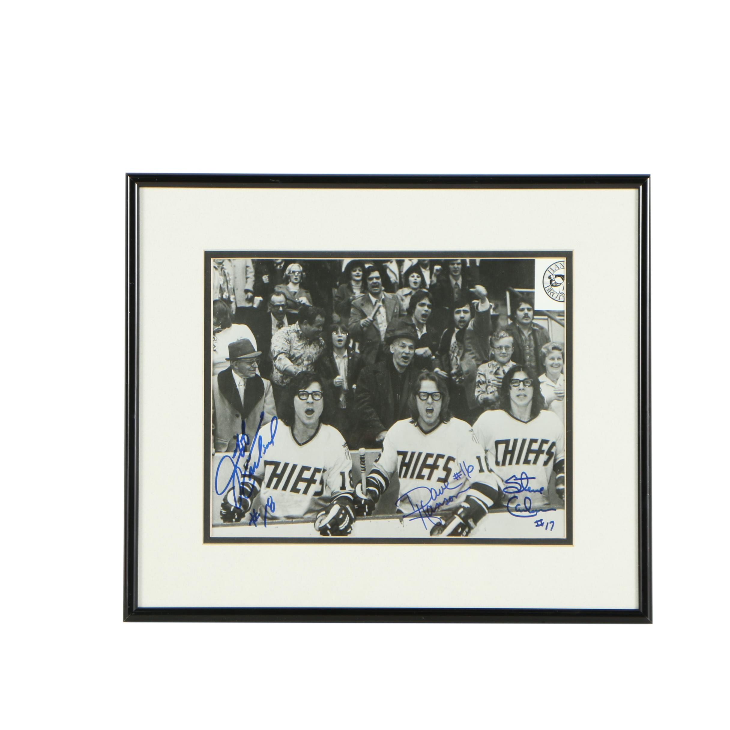 """Autographed Halftone Print """"Slap Shot"""""""