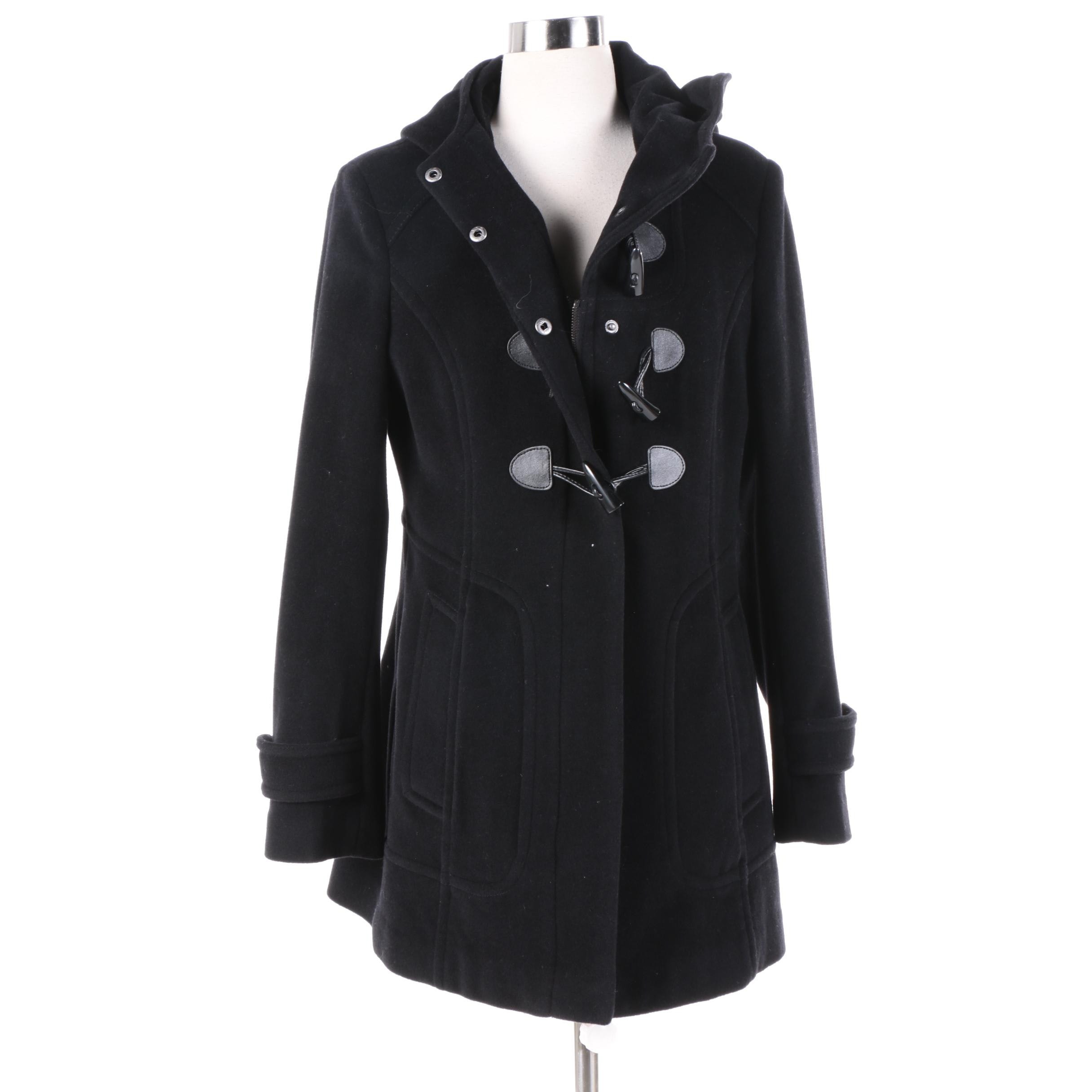 Women's Cole Haan New York City Black Wool Blend Duffel Coat