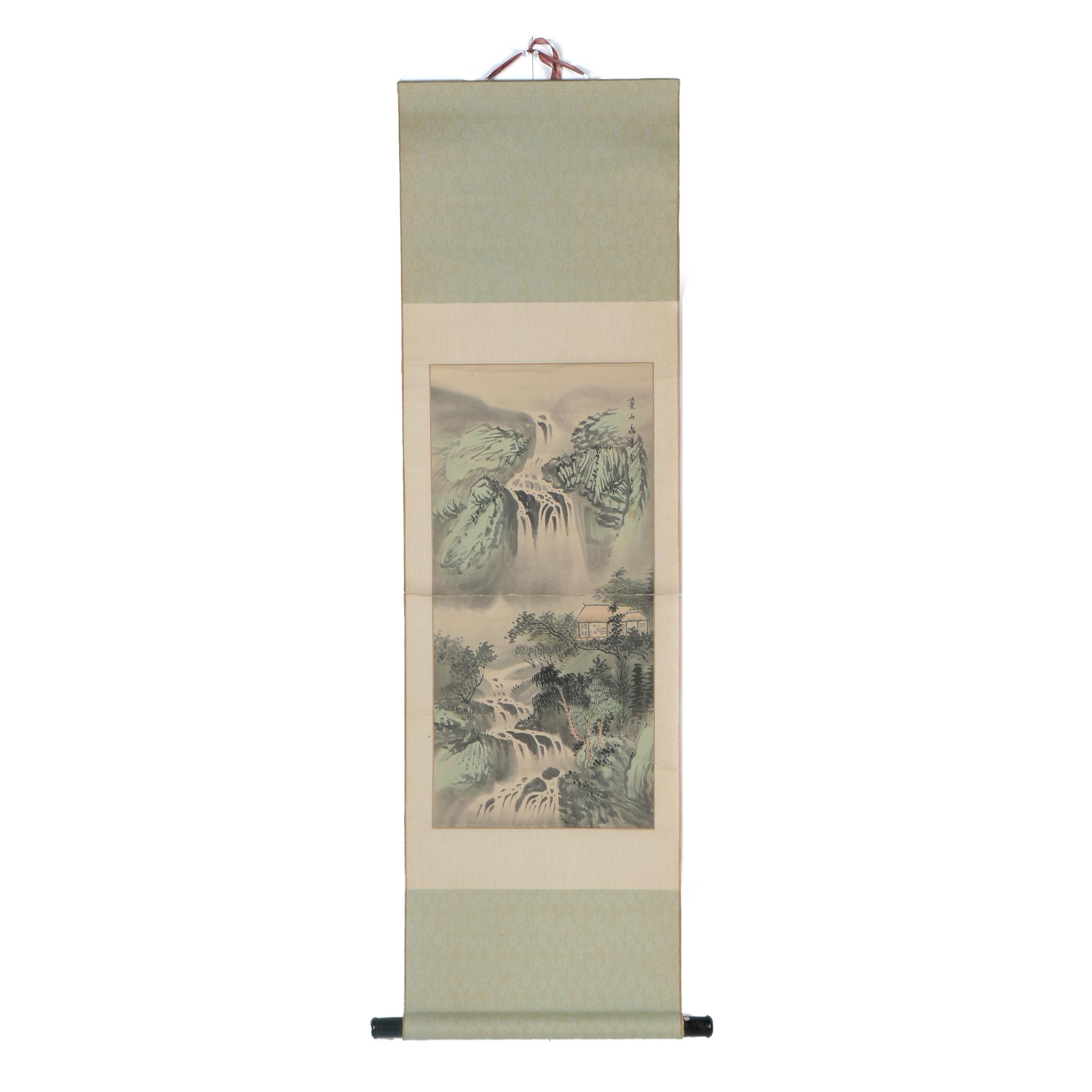 Chinese and Watercolor Painted Hanging Scroll