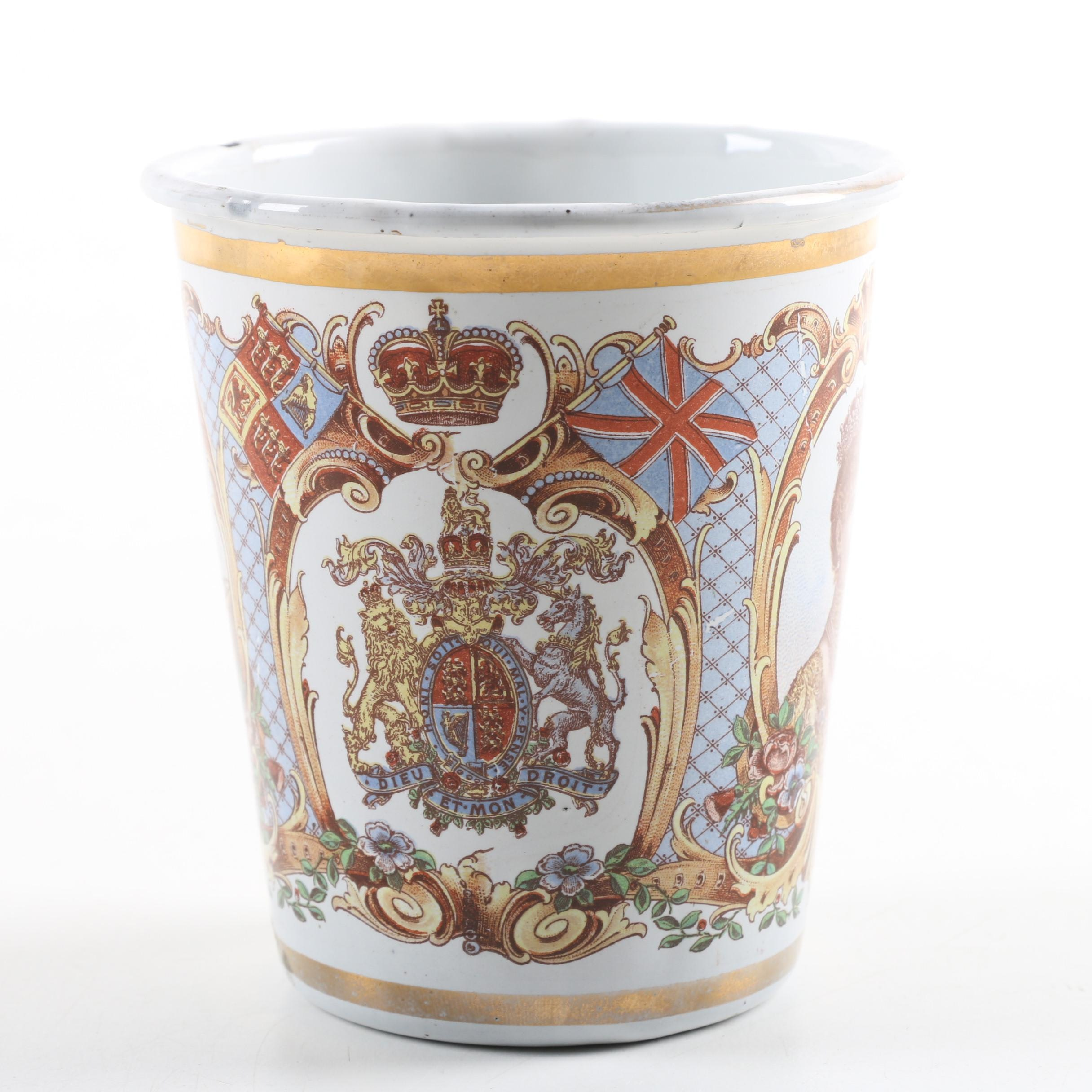 Antique George V Coronation Enameled Tin Cup