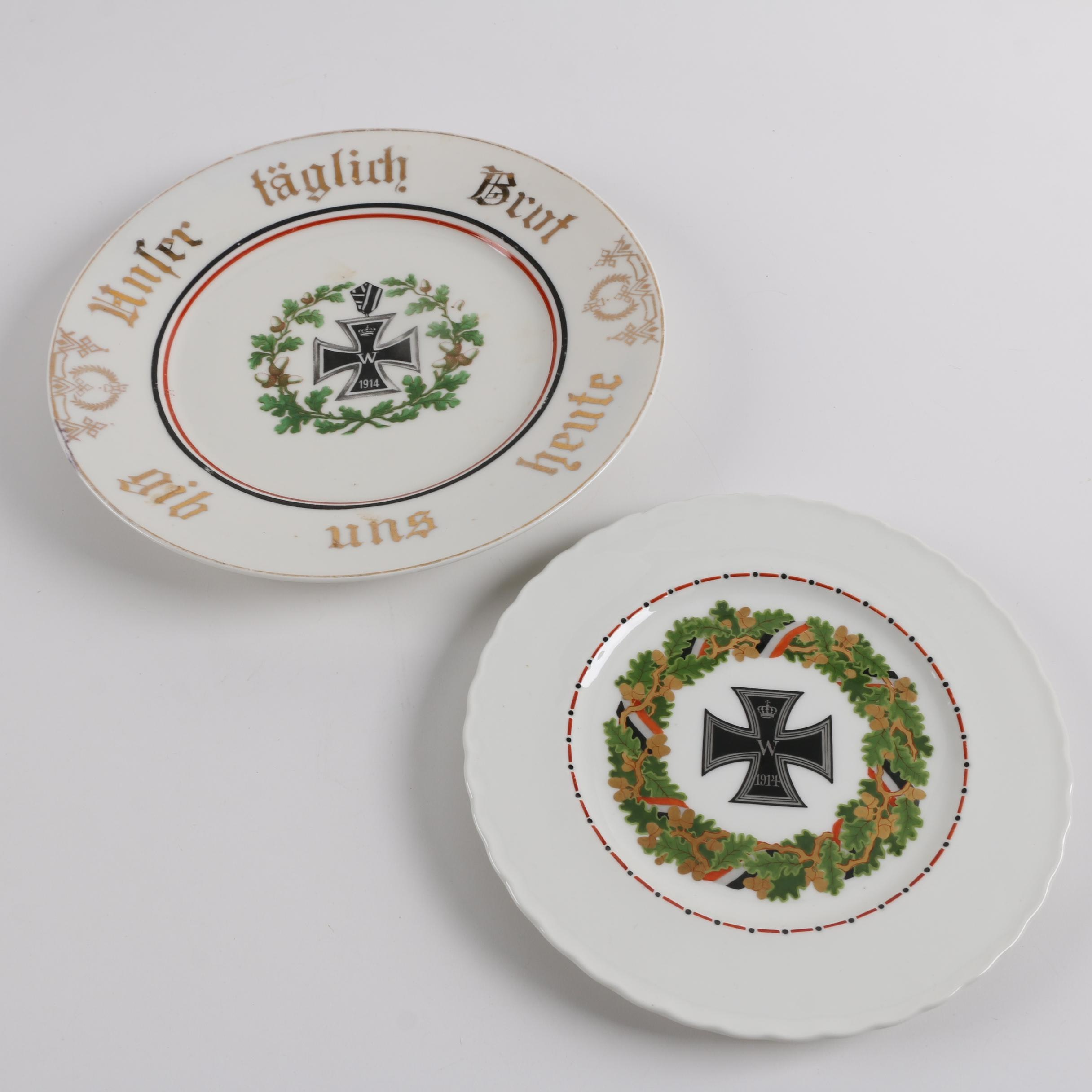 Pair of Porcelain World War One Prussian Plates including KPM