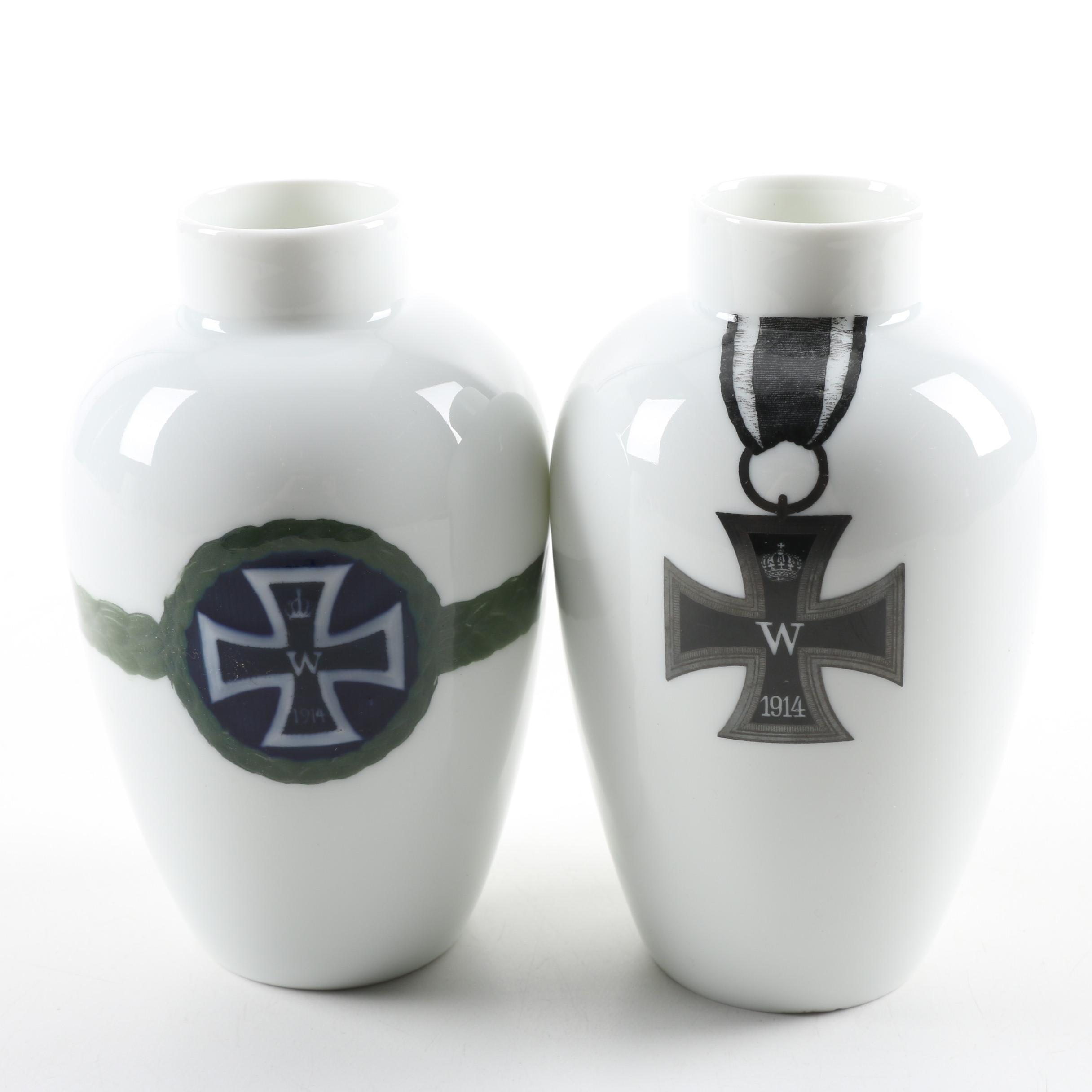 Rosenthal World War One Commemorative Prussian Vases