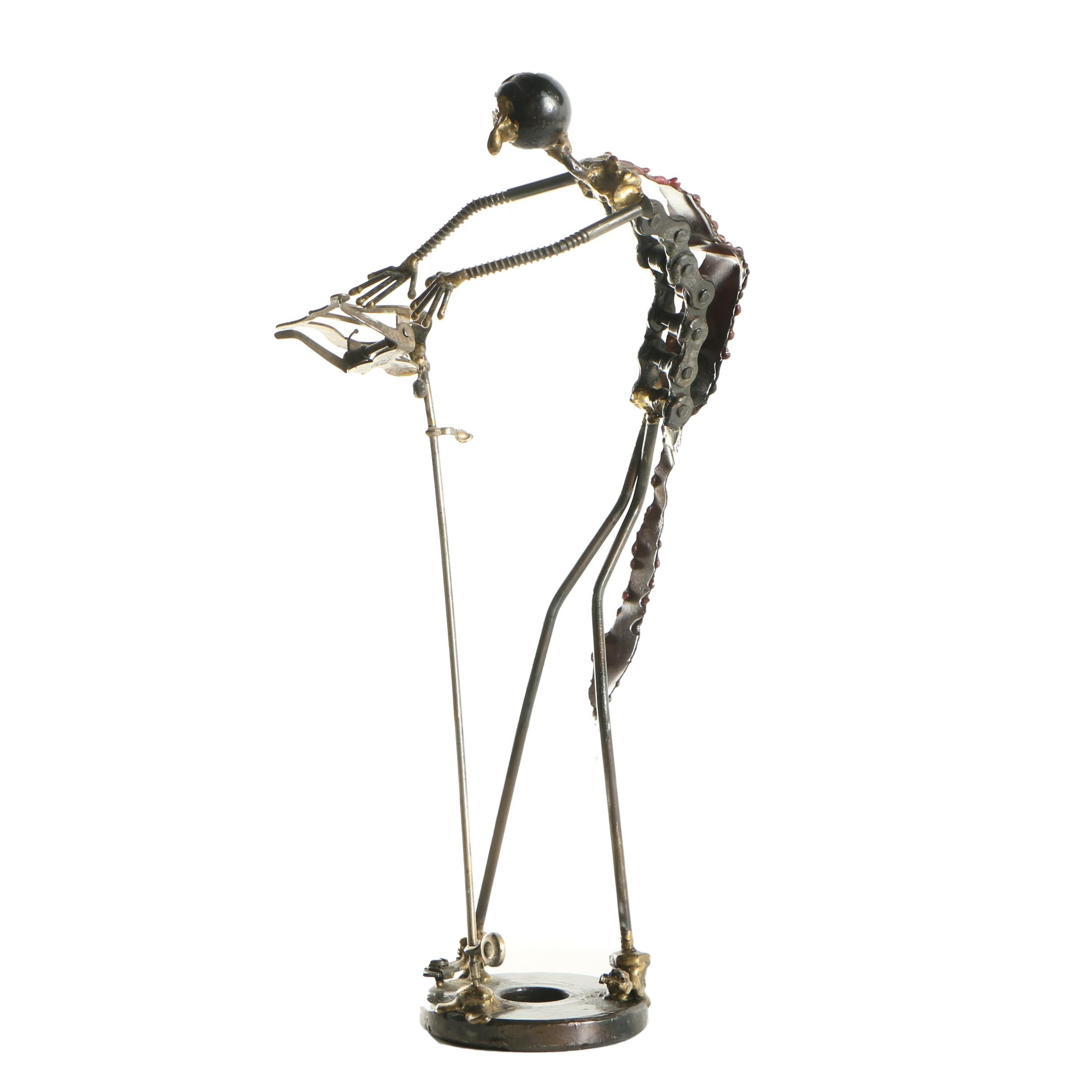 Metal Assemblage Sculpture of a Conductor