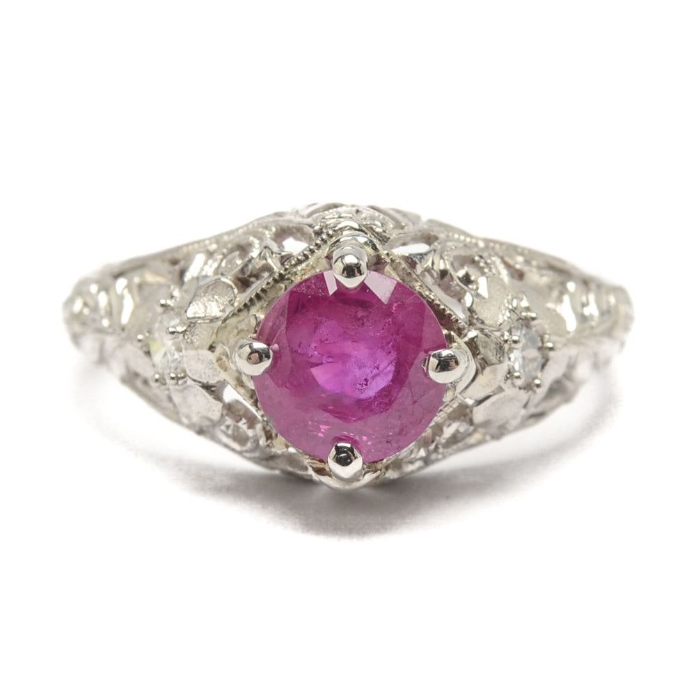 Platinum Edwardian Style Ruby and Diamond Ring