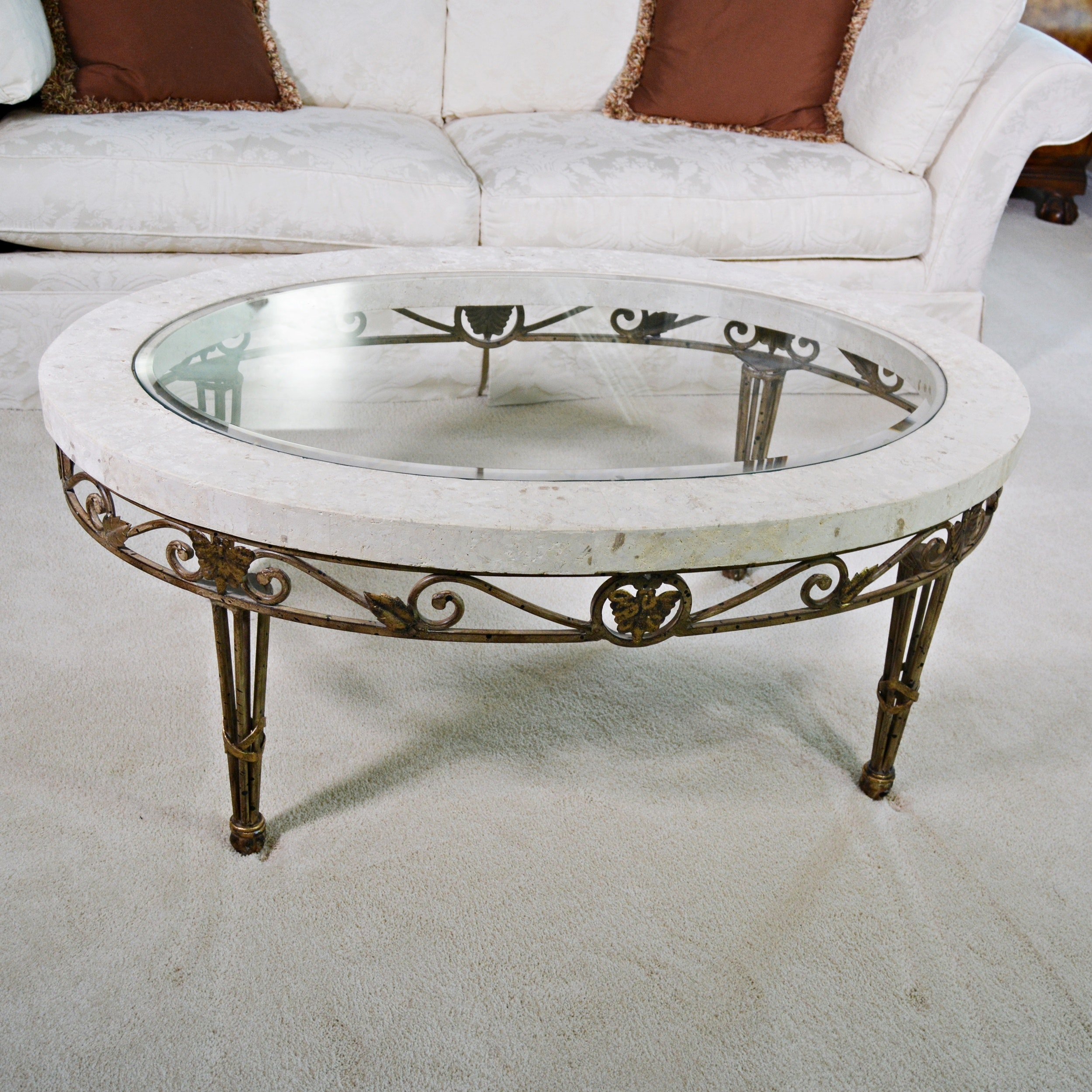 Glass, Stone and Metal Coffee Table
