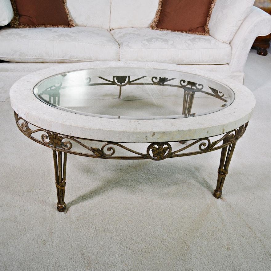 Glass Stone And Metal Coffee Table Ebth