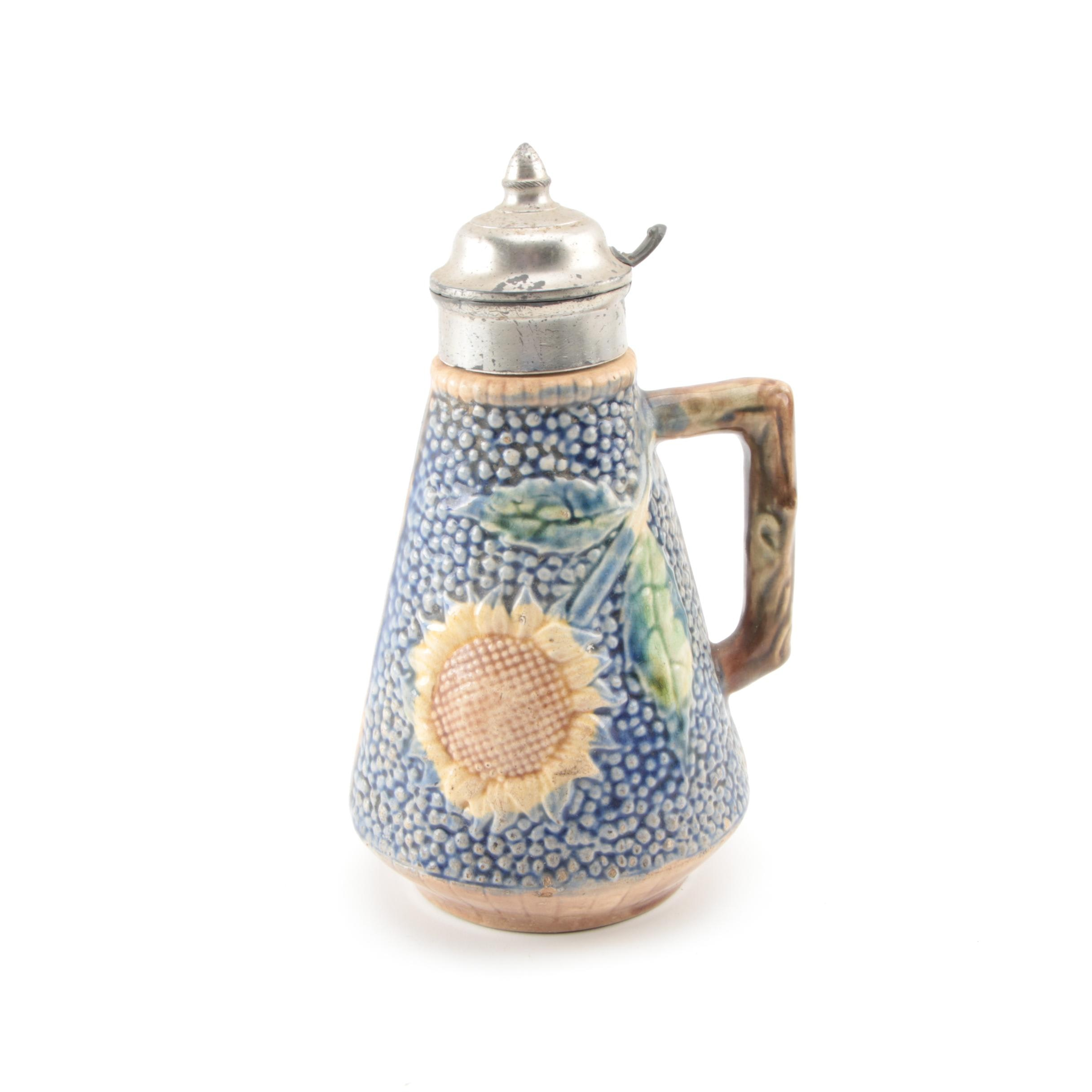 Etruscan Majolica Sunflower Syrup Pitcher