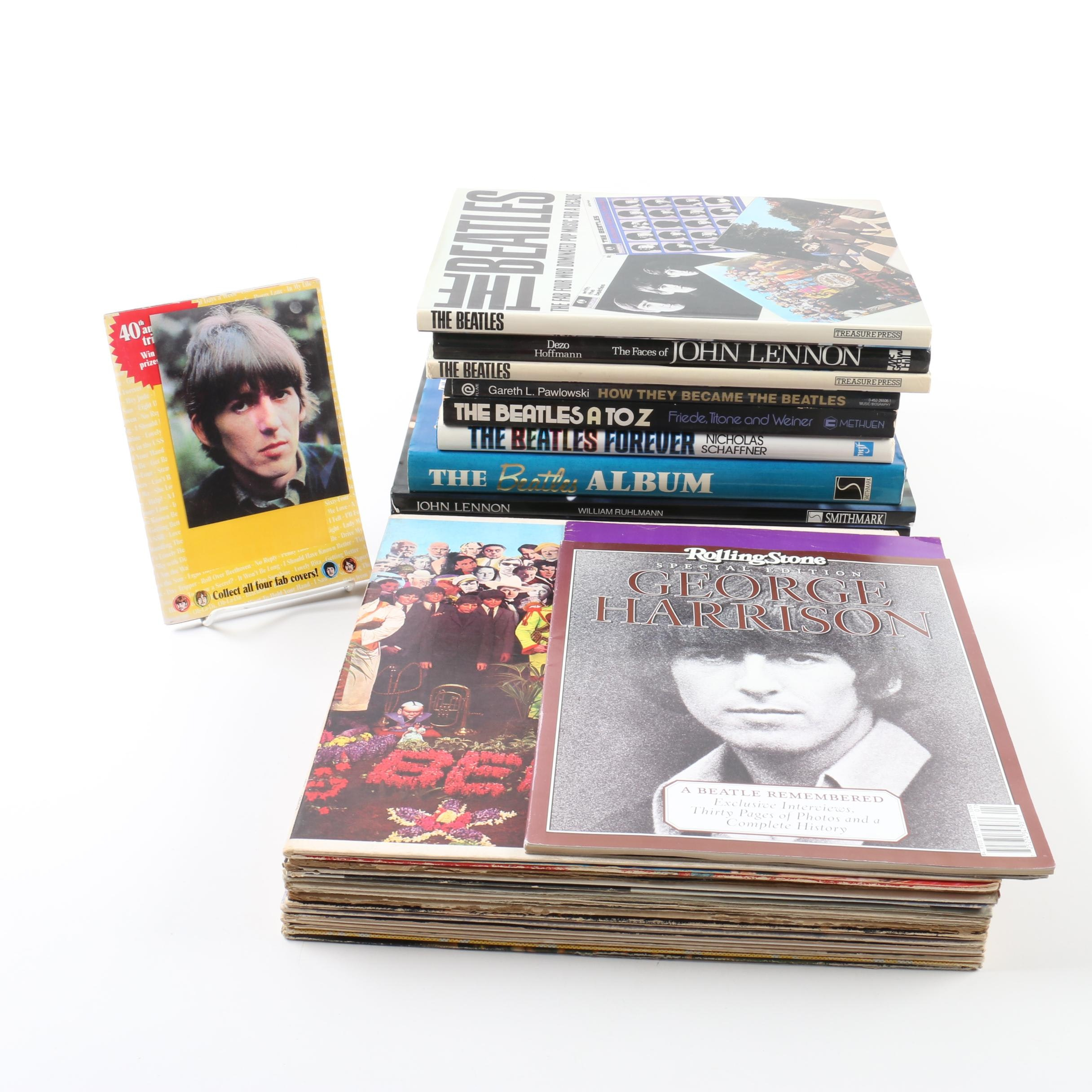 Beatles Records with Magazines and Books
