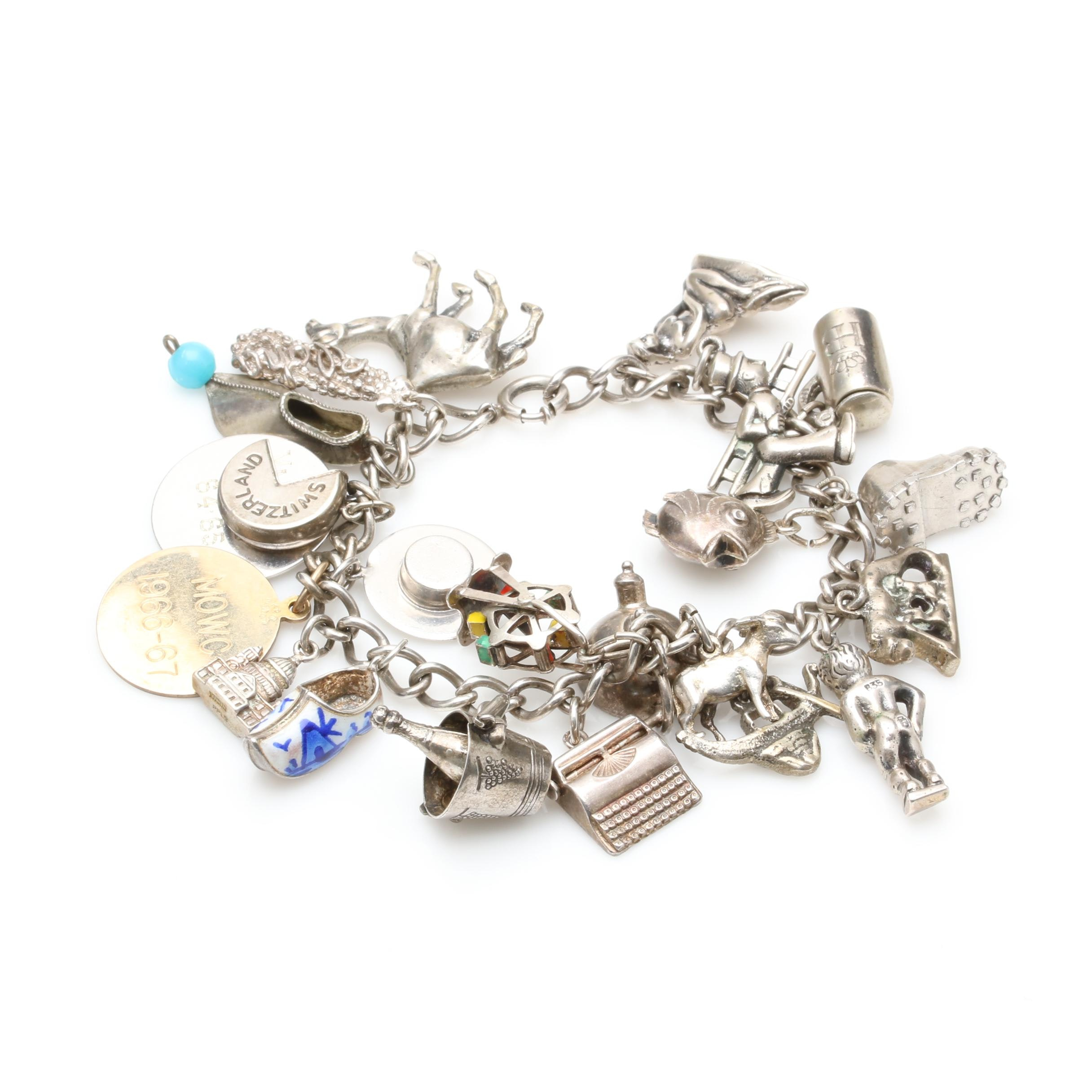 Vintage Sterling Silver Charm Bracelet Including Glass and 800 Silver