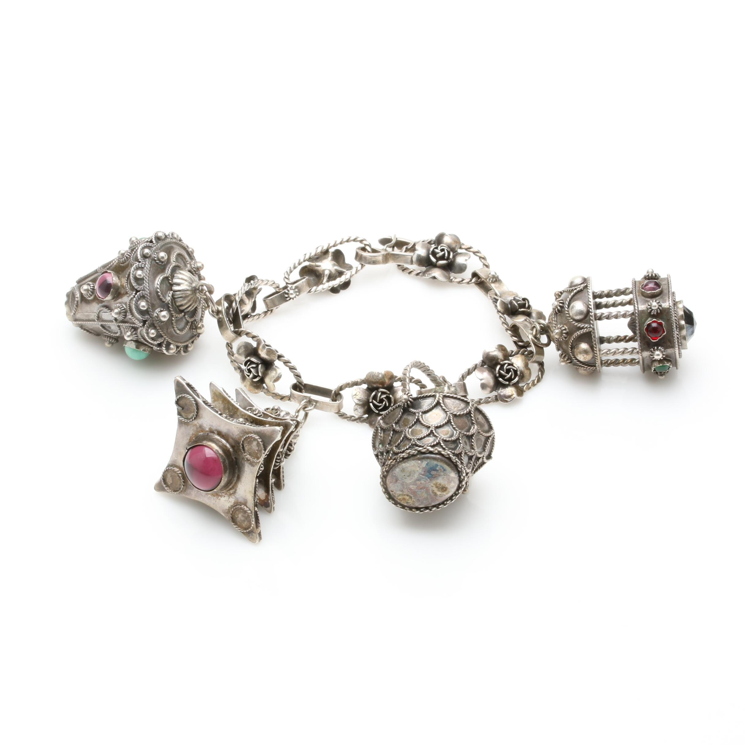 Vintage 800 Silver Charm Bracelet With Glass Accents