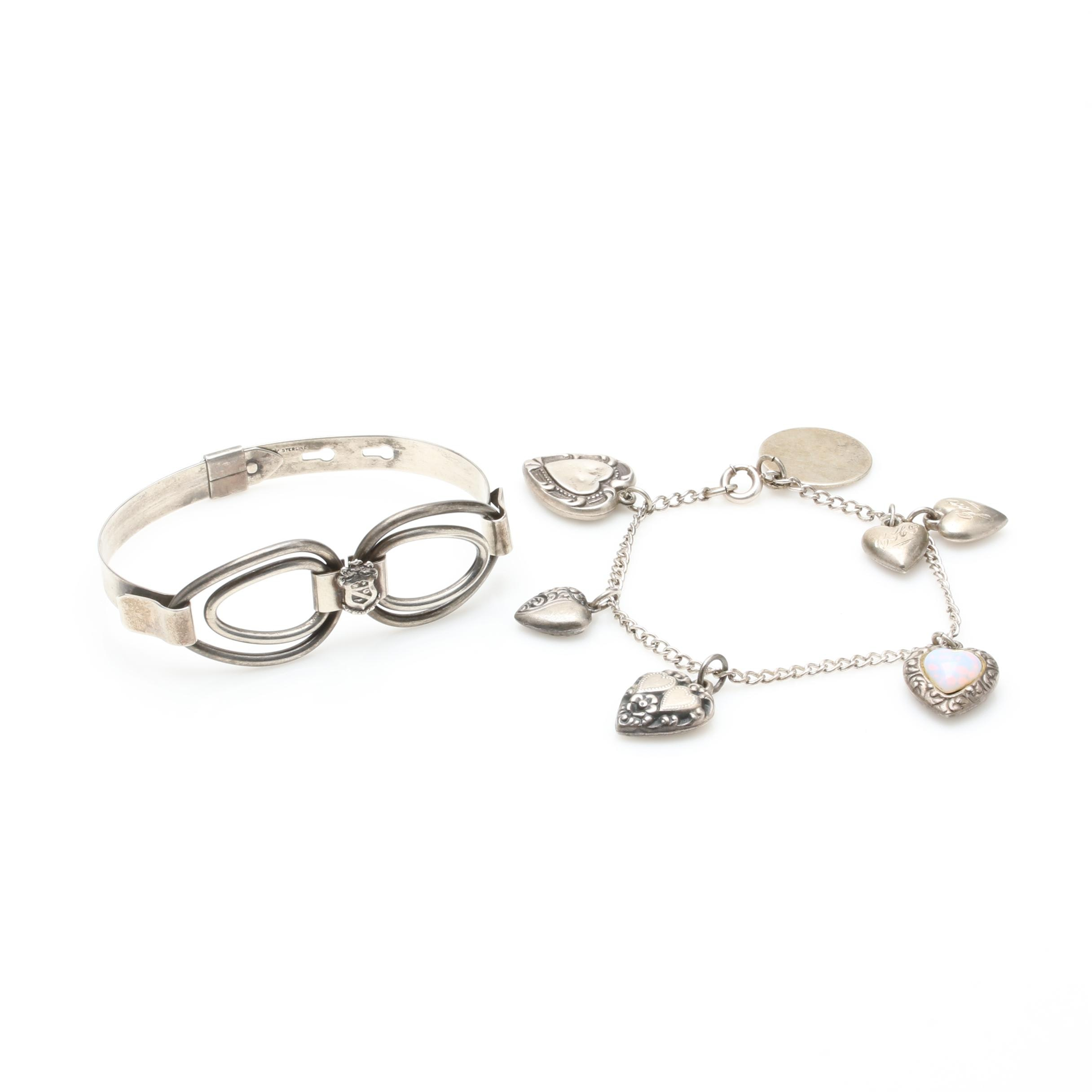 Sterling Silver Charm Bracelet and Buckle Bracelet Including Glass