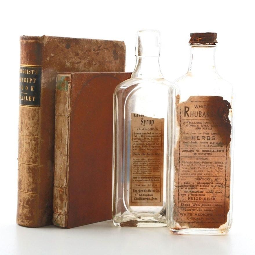 Antique Medical Books and Medicinal Bottles