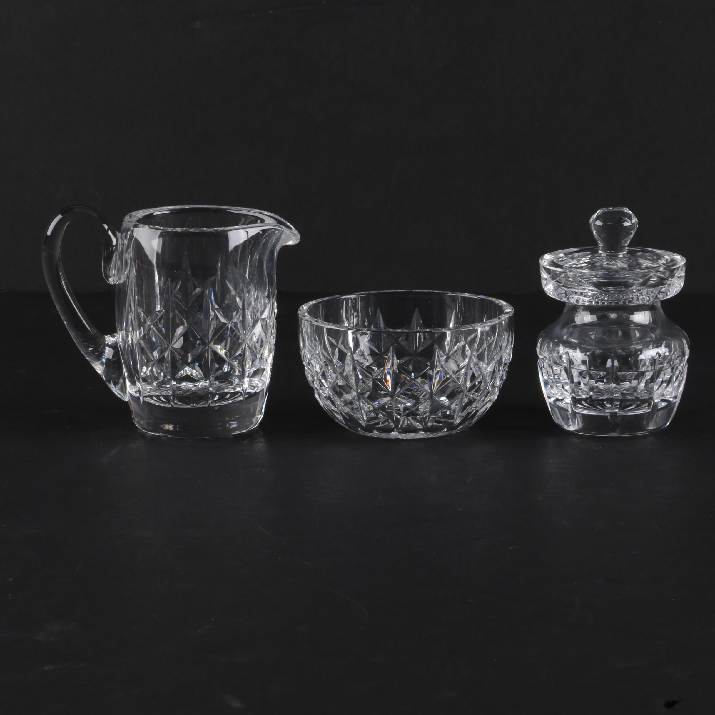 "Waterford Crystal ""Lismore"" Cream and Sugar Set with Honey Jar"
