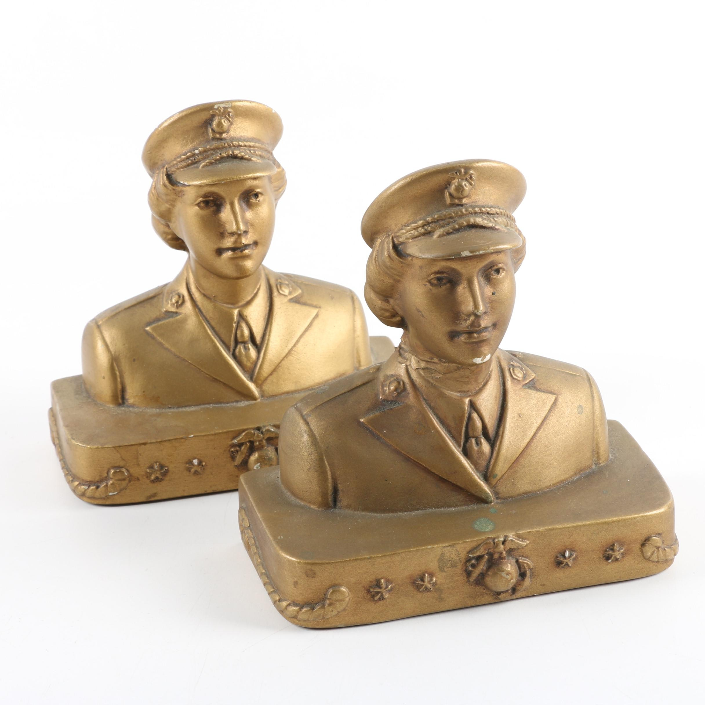 Gold Tone Figural Plaster Bookends