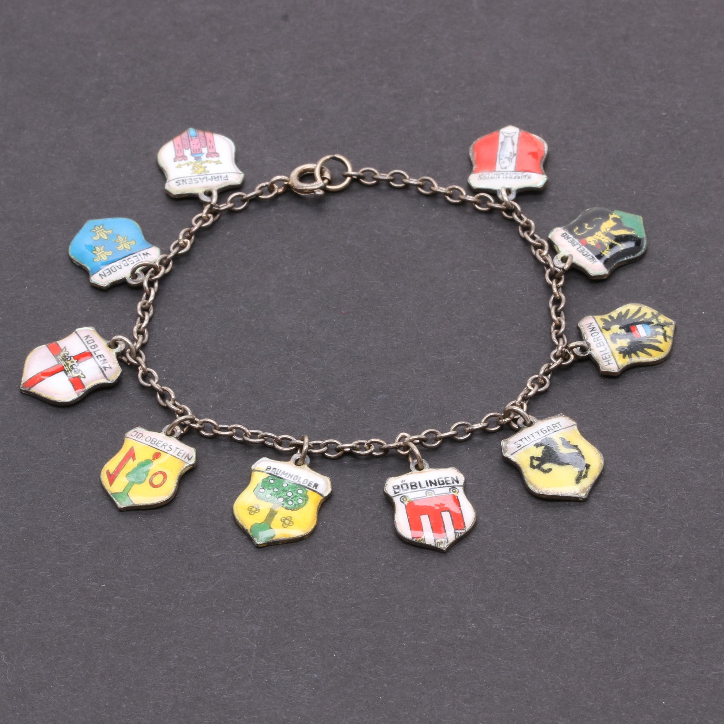 Vintage Sterling Silver Enamel German Shield Charm Bracelet