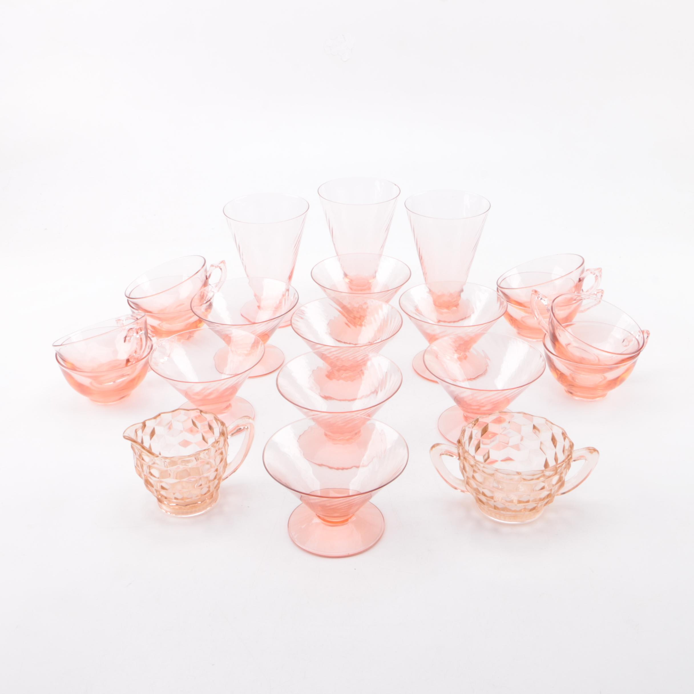 Pink Depression Glass with Heisey Punch Cups