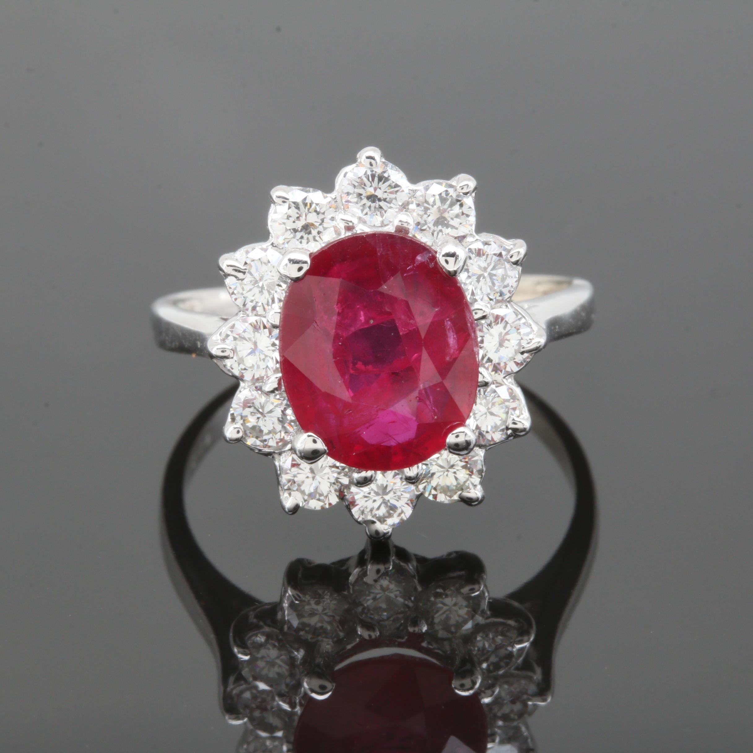 14K White Gold 2.14 CT Ruby and 0.78 CTW Diamond Ring