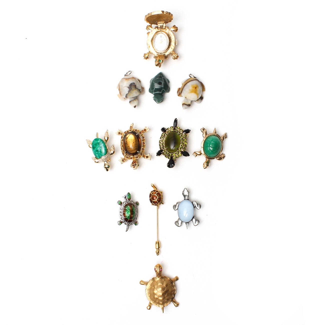 Collection of Turtle Jewelry Including Timepiece by Sheffield